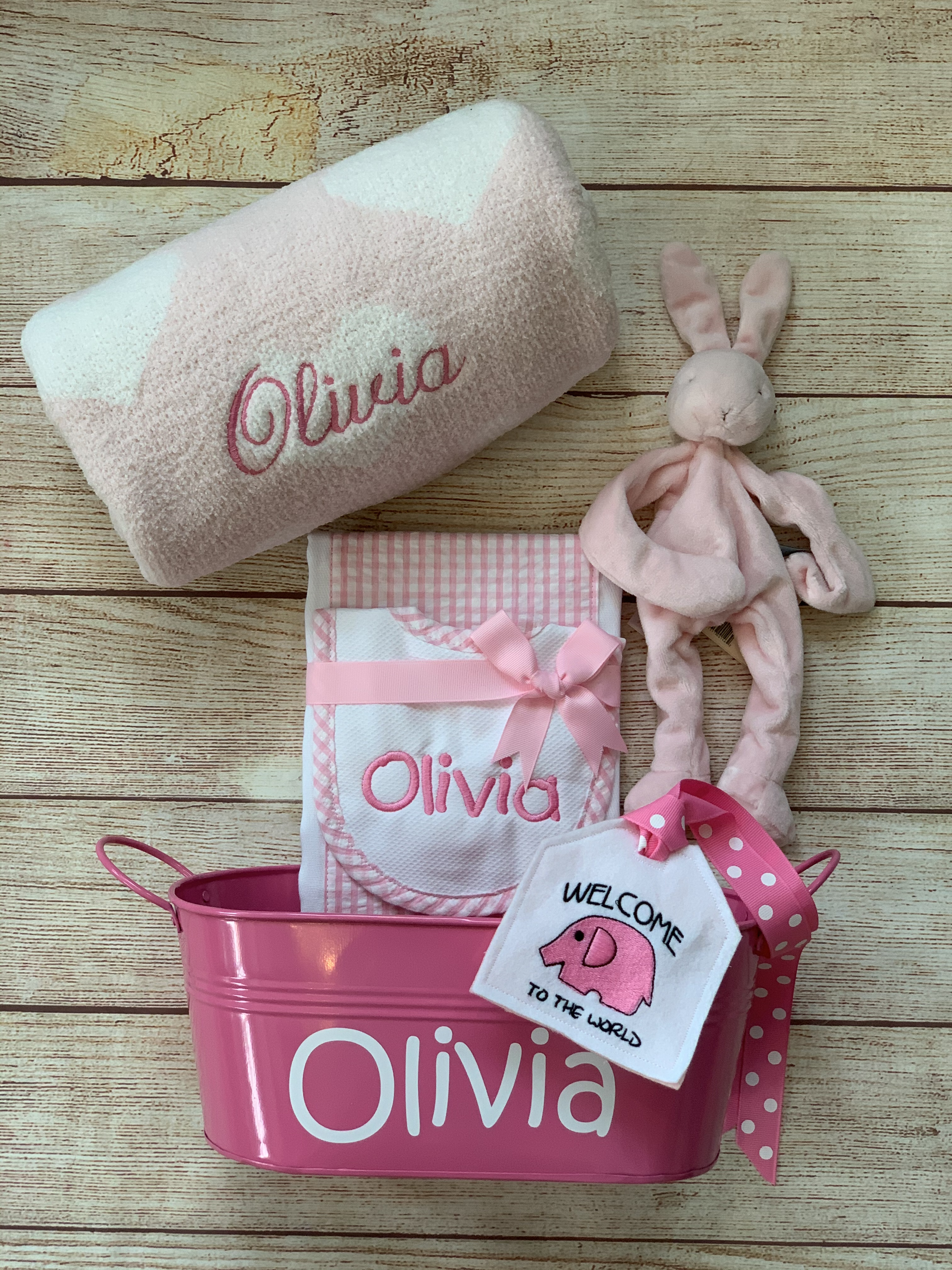 Make gifting spectacular...add a bib and burp set, a binkie buddy, a gift tin and tag! We wrap and Ship at Wicked Stitches Gifts.