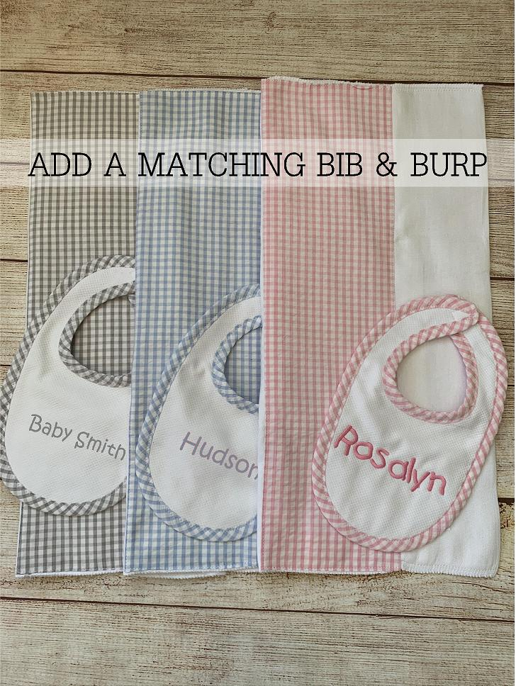 A coordinated Bib and Burp Set makes a great addition to the gift!   All items expertly embroidered by Wicked Stitches Gifts.
