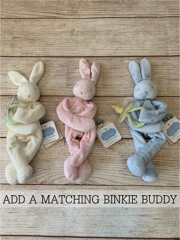 Easily add a binkie buddy pacifier holder to your gift.  Great item made by Bunnies by the Bay.
