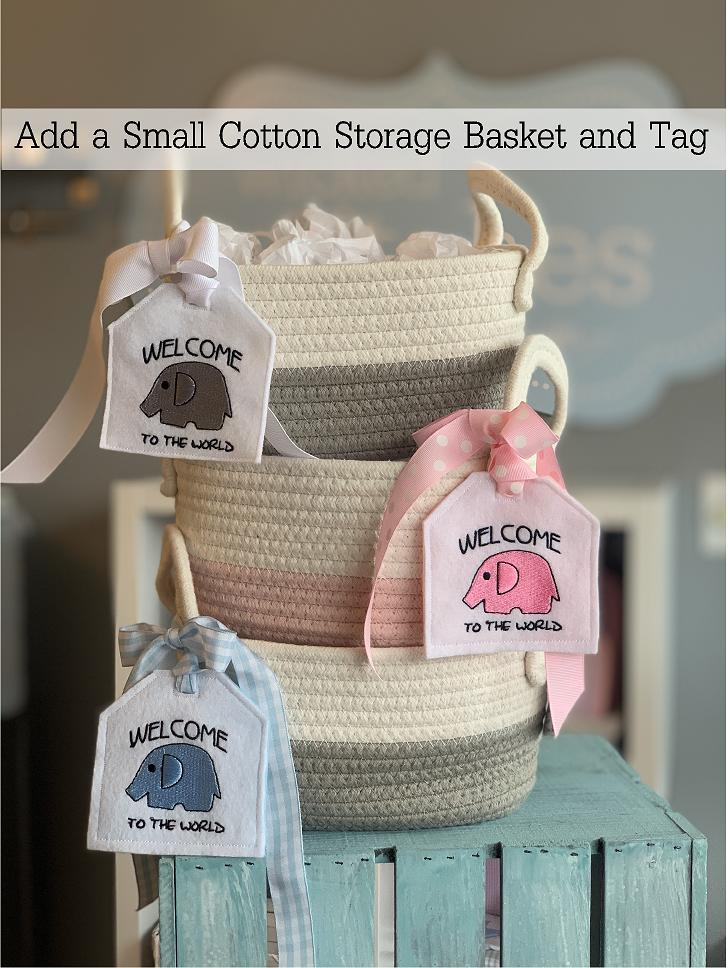 Cotton storage baskets (8.5x4.7x6) make the perfect gift wrap! Perfect to use in the nursery.