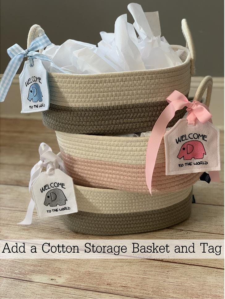 Add a cotton storage basket and embroidered gift tag to make your Wicked Stitches Gift even better!
