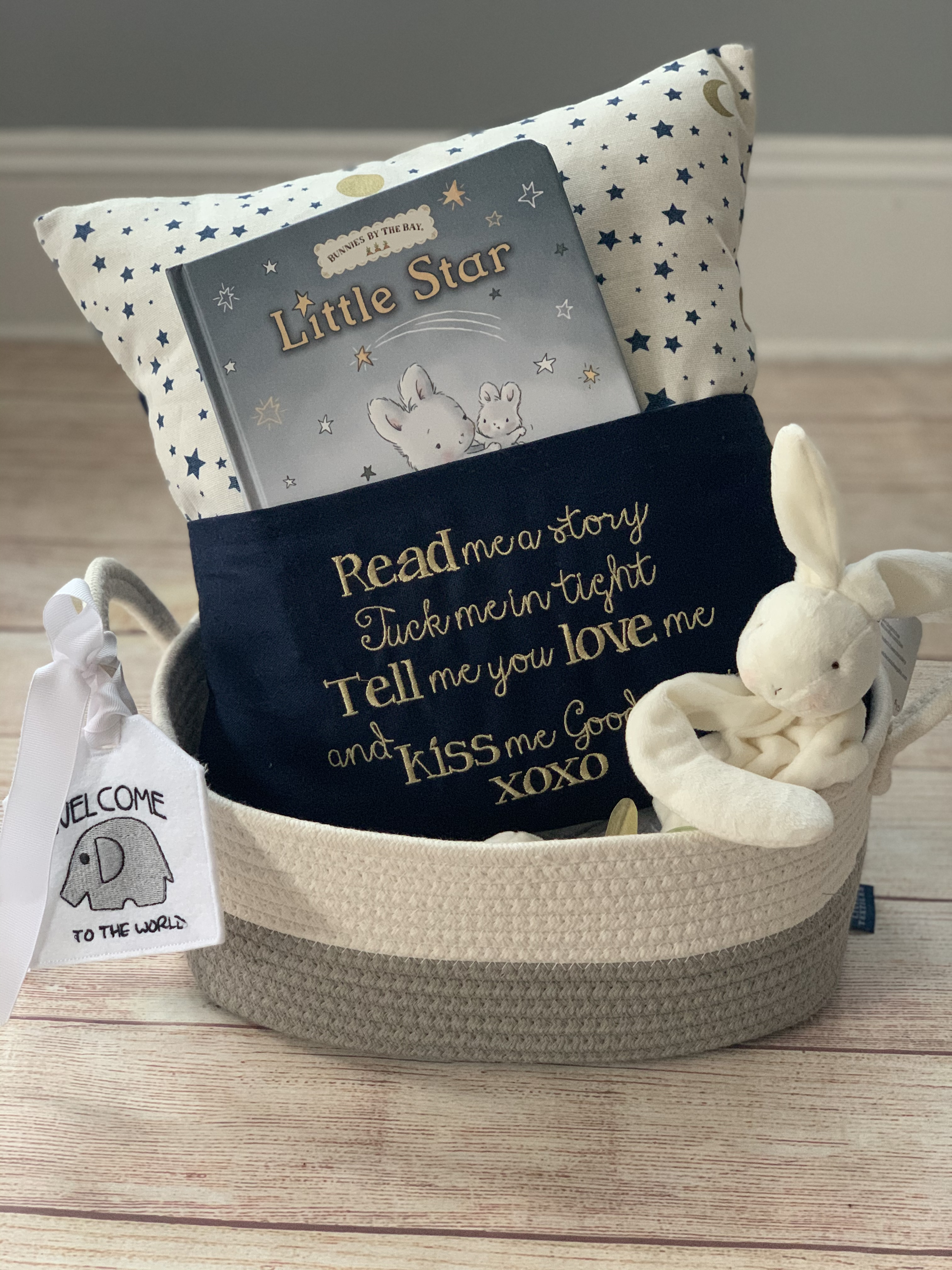 Give the best gift ever. Read to Me Pocket Pillow, book, binkie buddy, embroidered gift tag and cotton storage basket.  By Wicked Stitches Gifts.