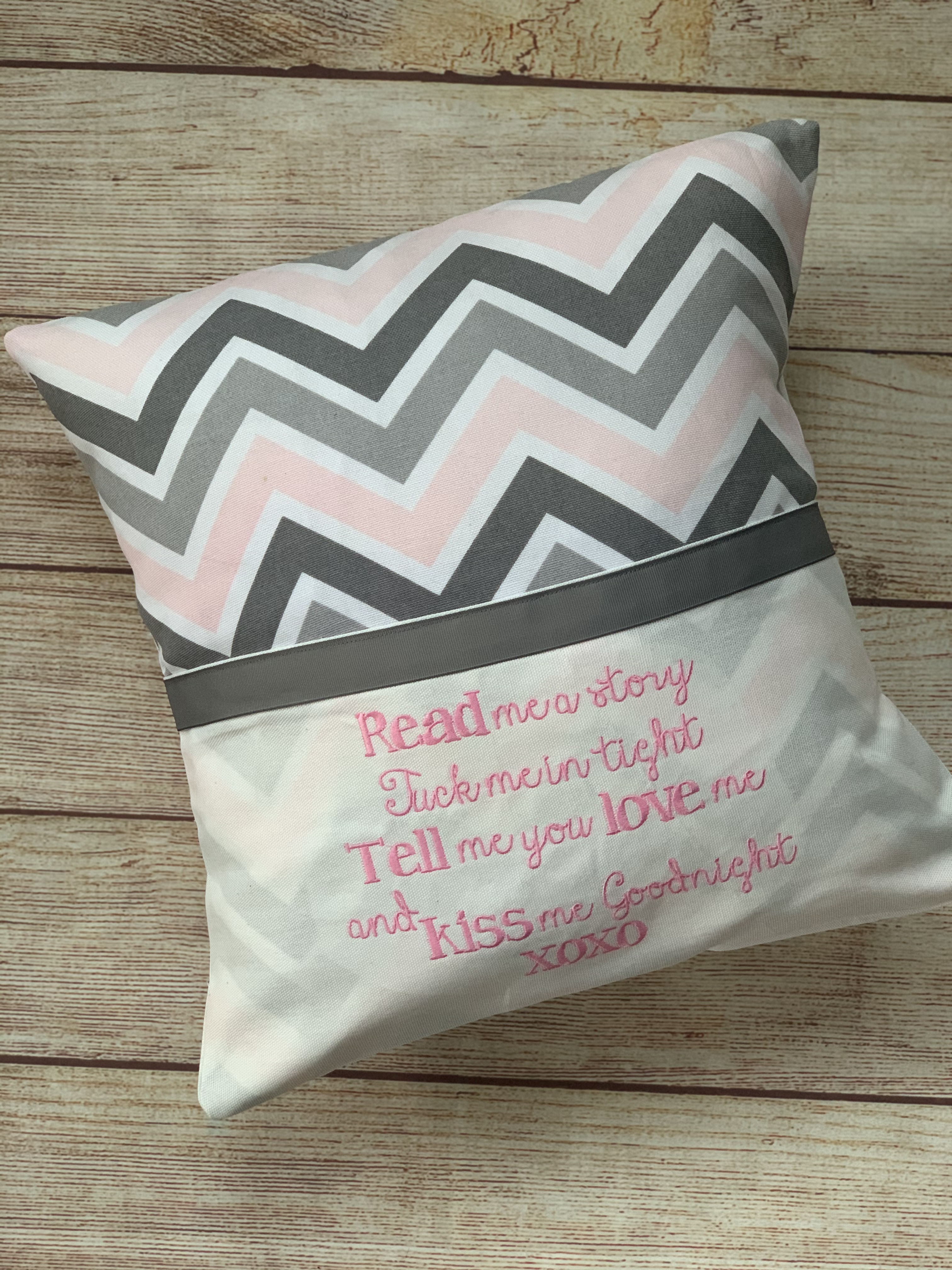 Pink, grey and white chevron pattern.   Read to Me Pocket Pillow by Wicked Stitches Gifts.