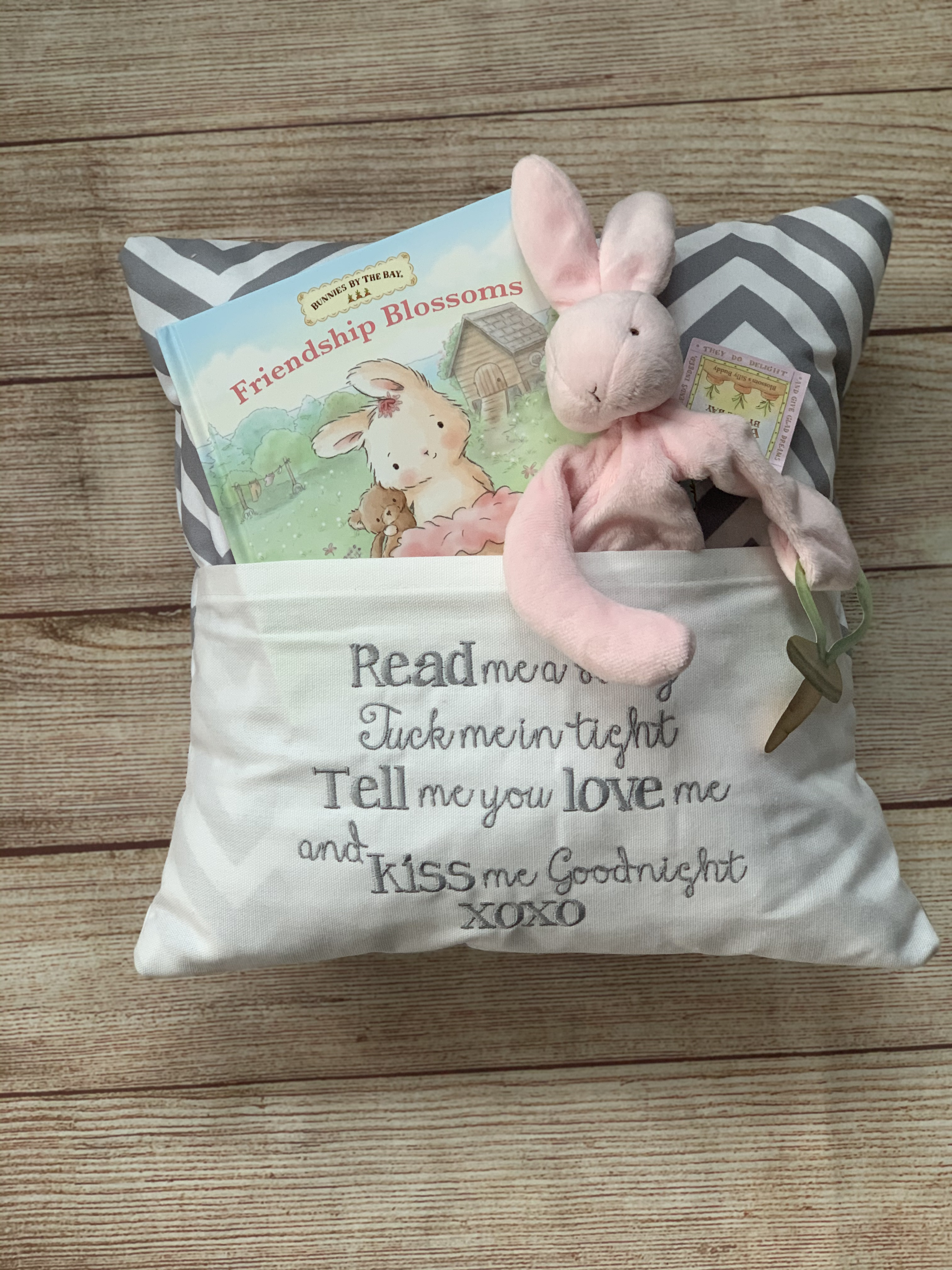 Gray Read to Me Pocket Pillow by Wicked Stitches.  Neutral colors so this pillow will look great anywhere it goes.  Grey chevron.  Wicked Stitches Gifts.