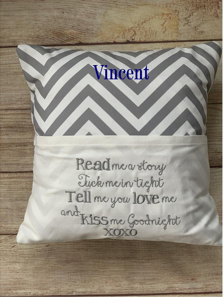 You can personalize your pillow with a name or monogram!  Created and embroidered by Wicked Stitches Gifts.