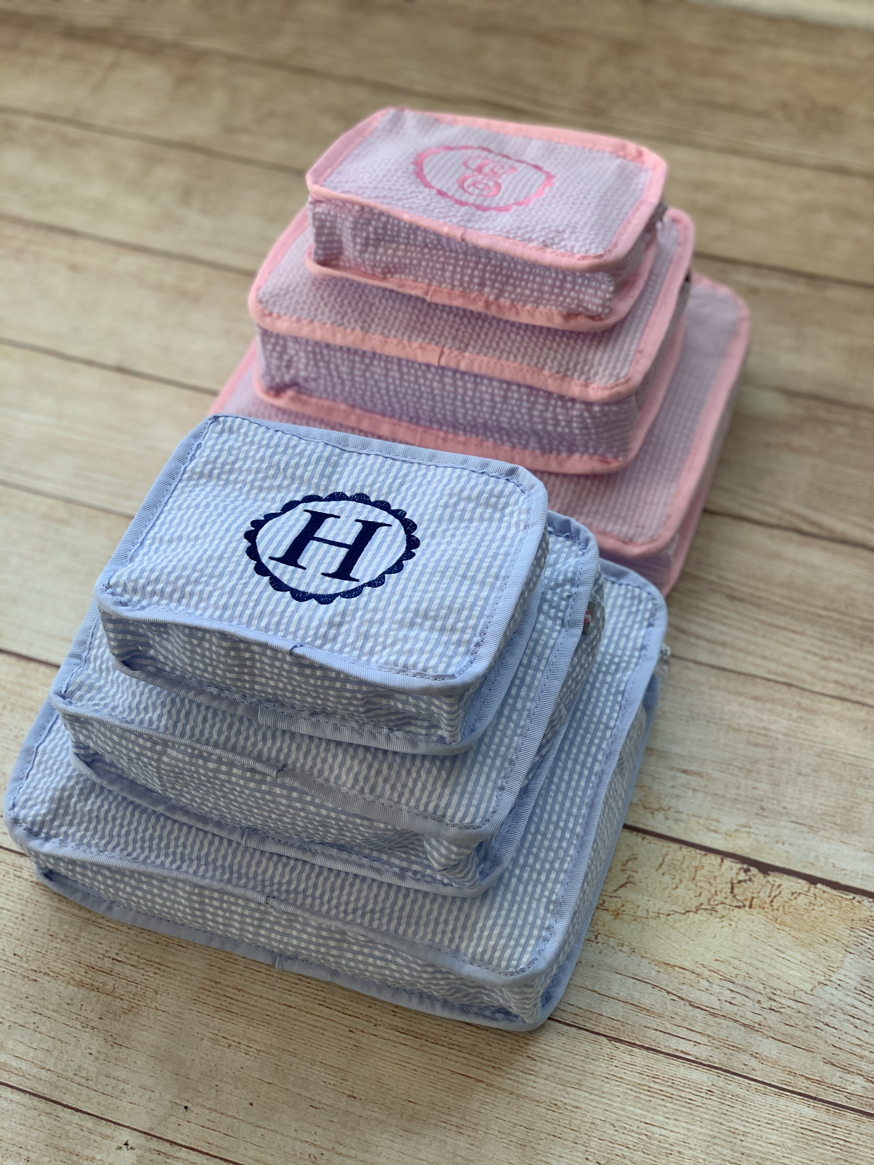 Pack 'em and stack 'em!  Great items for traveling, keep essential items together and easy to find.  Expertly embroidered by Wicked Stitches Gifts.