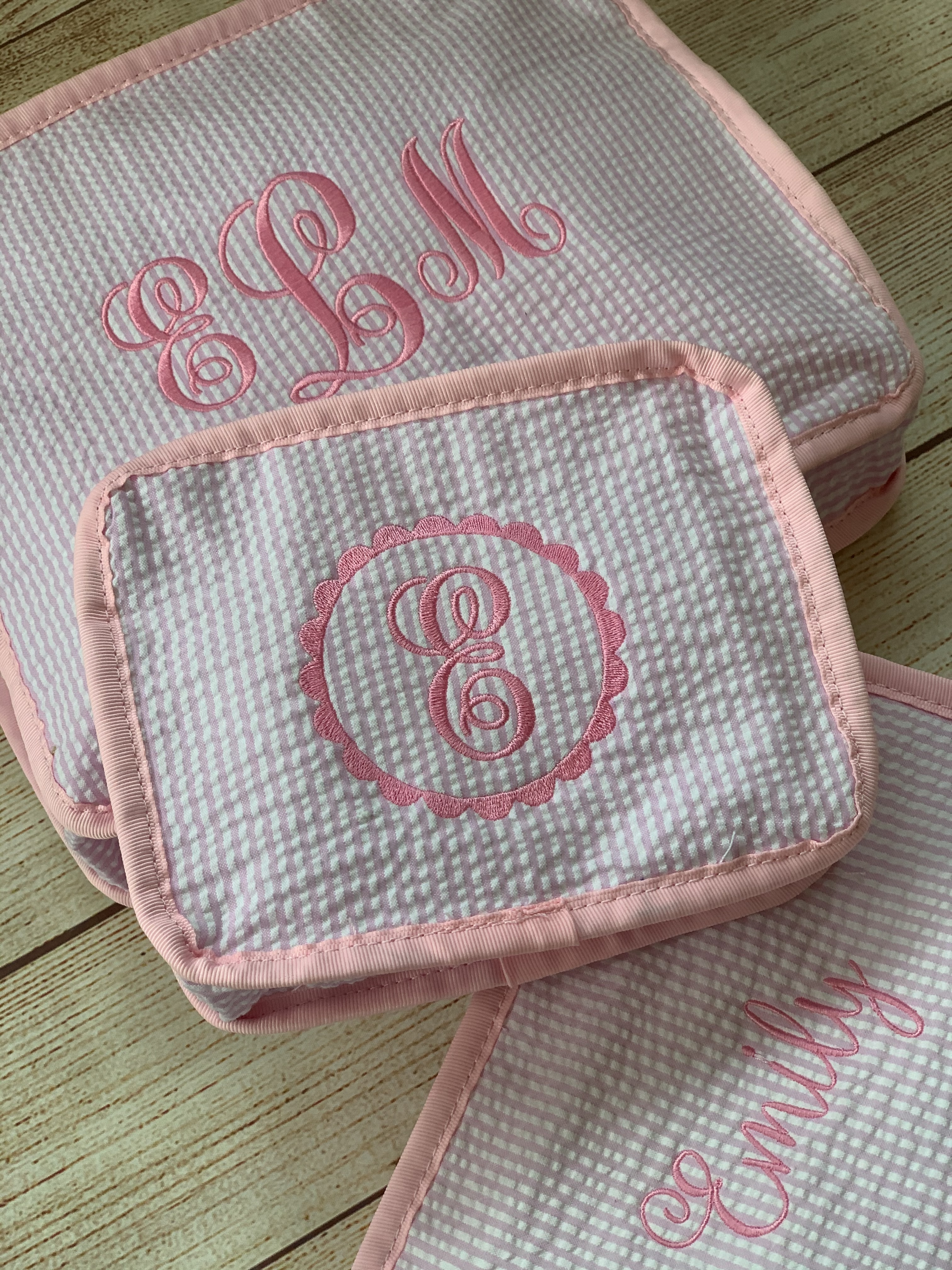 Baby Travel Organizers expertly monogrammed by Wicked Stitches Gifts.
