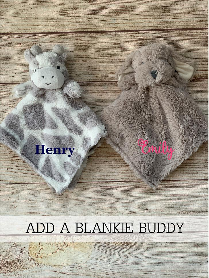 Add our travel buddy to create an awesome gift!  Add a soft, comforting  monogramed blankie buddy.  Great gifts by Wicked Stitches Gifts.