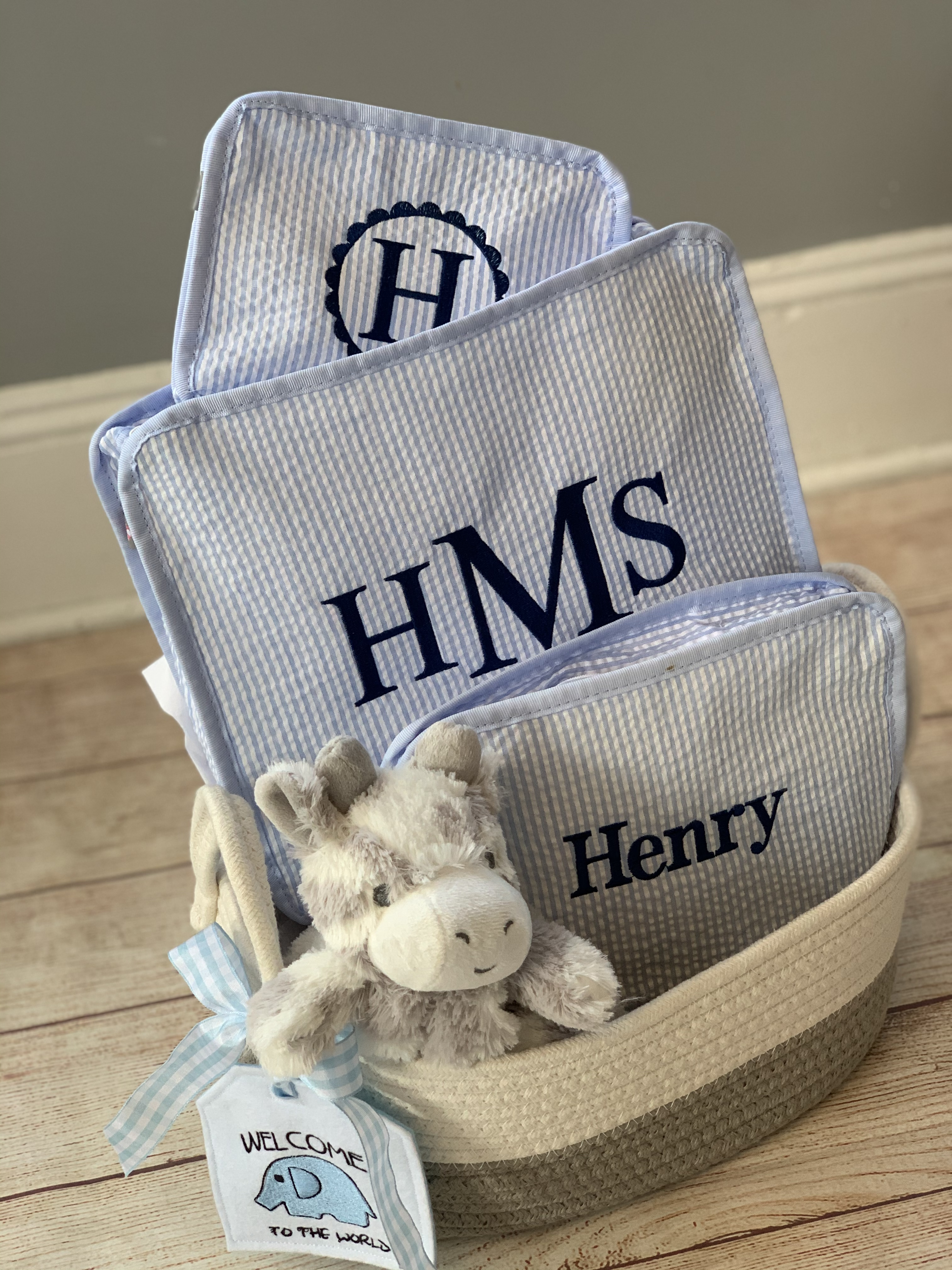 Check out our custom wrap options.    Add a cotton bucket and tag to create a great gift presentation! Wicked Stitches Gifts.