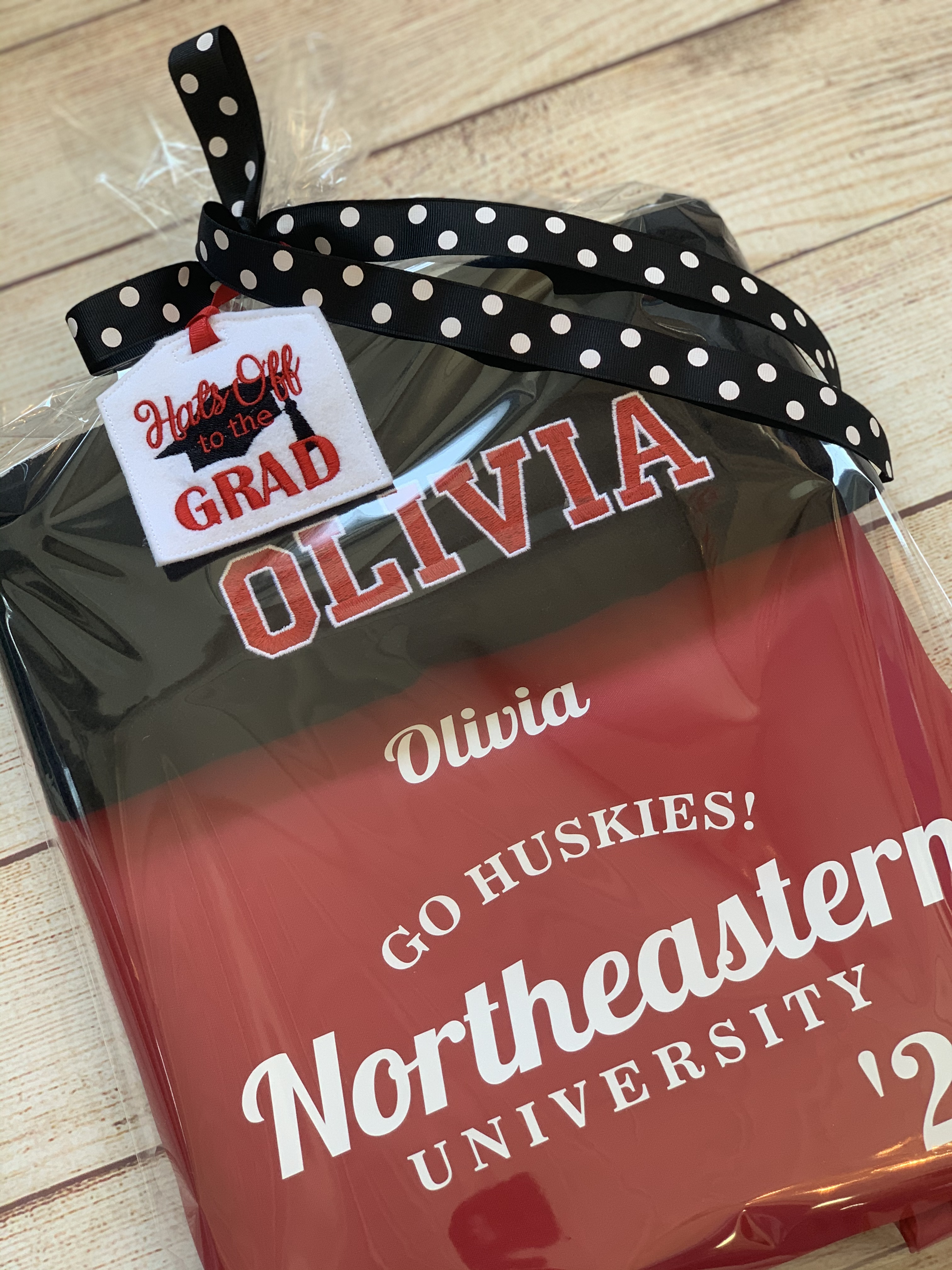 A Laundry Bag and Beach towel in the college colors makes the perfect gift for the graduate going off to college. By Wicked Stitches Gifts