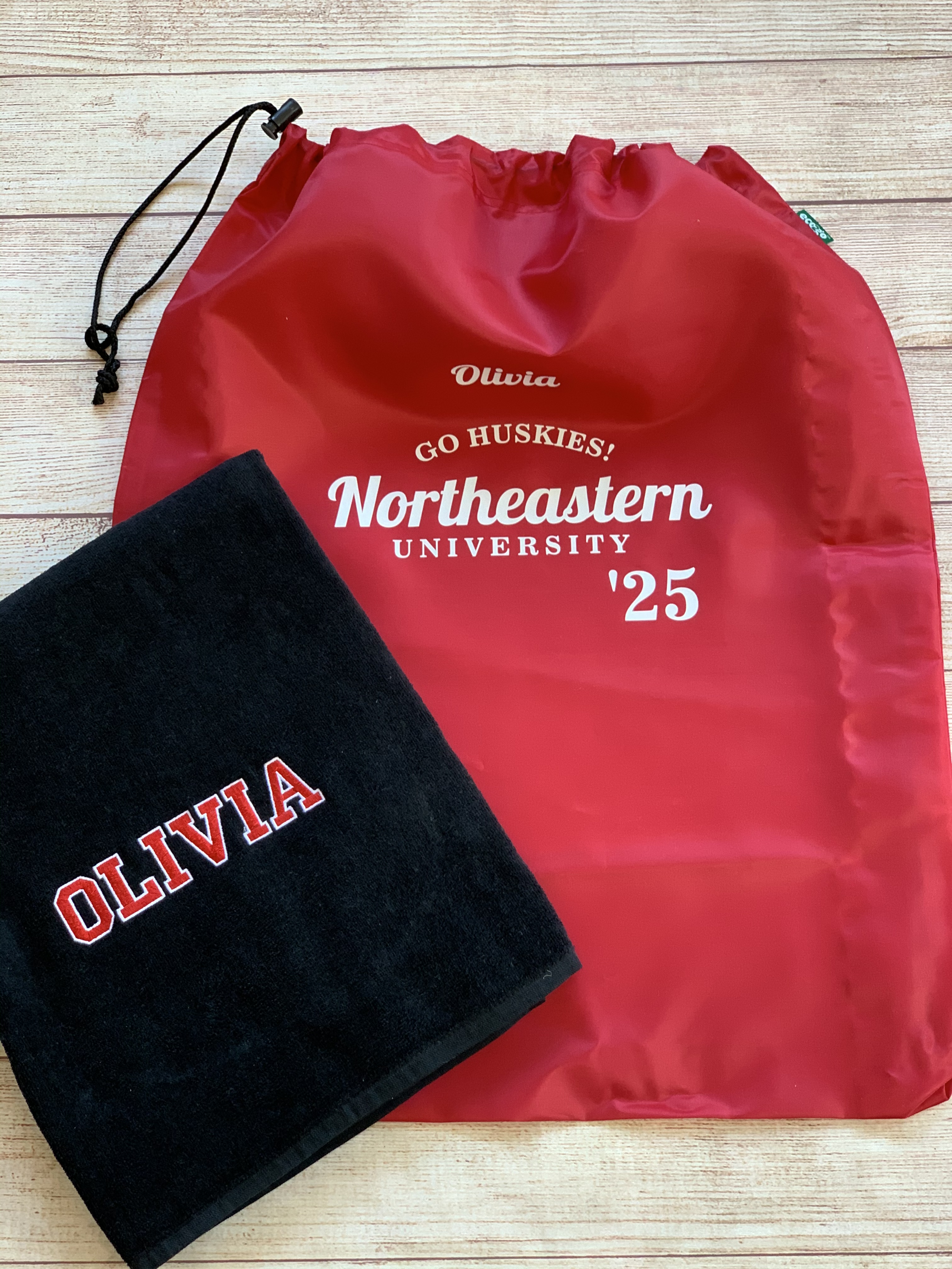 Laundry Bag and embroidered personalized beach towel for going off to college. By Wicked Stitches Gifts
