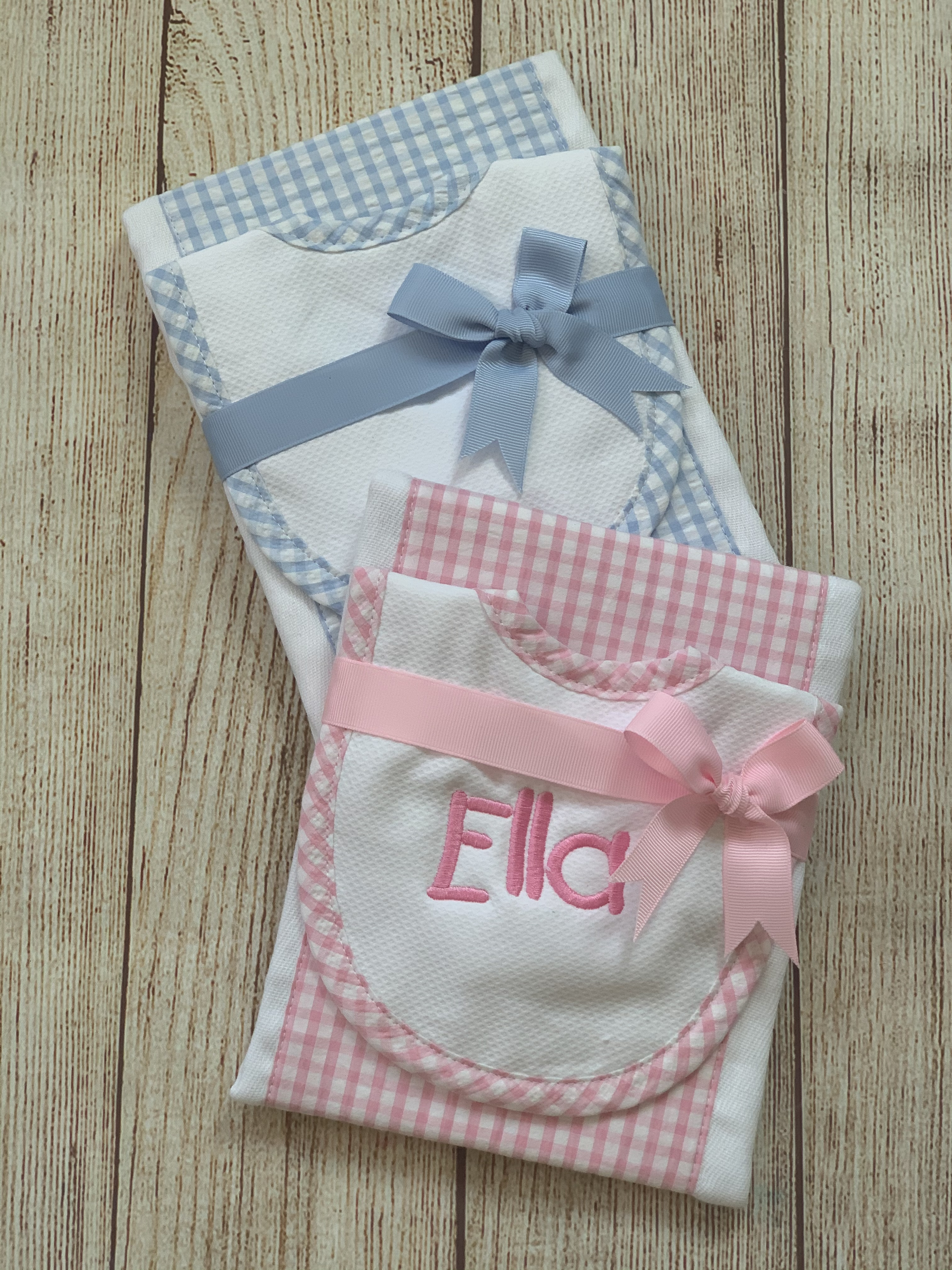 Pink and Blue Bib and Burp Cloth Set by Wicked Stitches Gifts