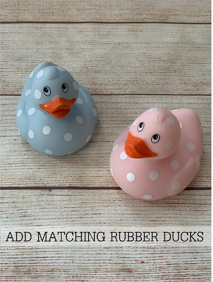 Add a matching rubber ducky.  Create a great gift for the new baby.  By Wicked Stitches Gifts.