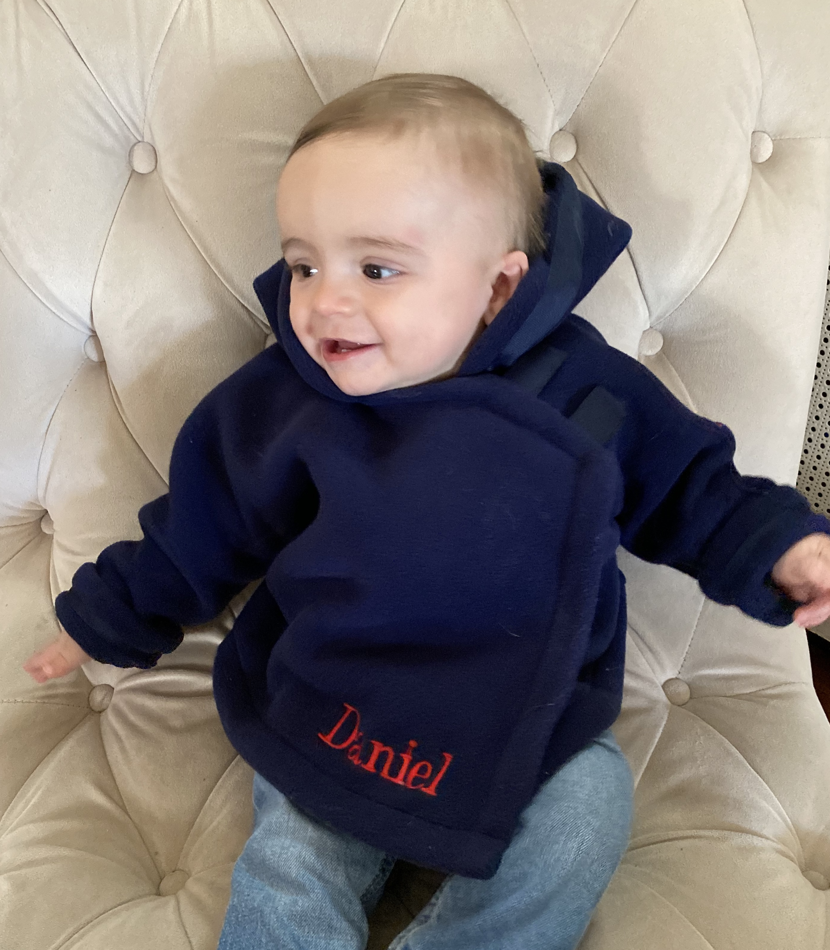 Daniel is staying warm and cozy in his navy widgeon jacket.
