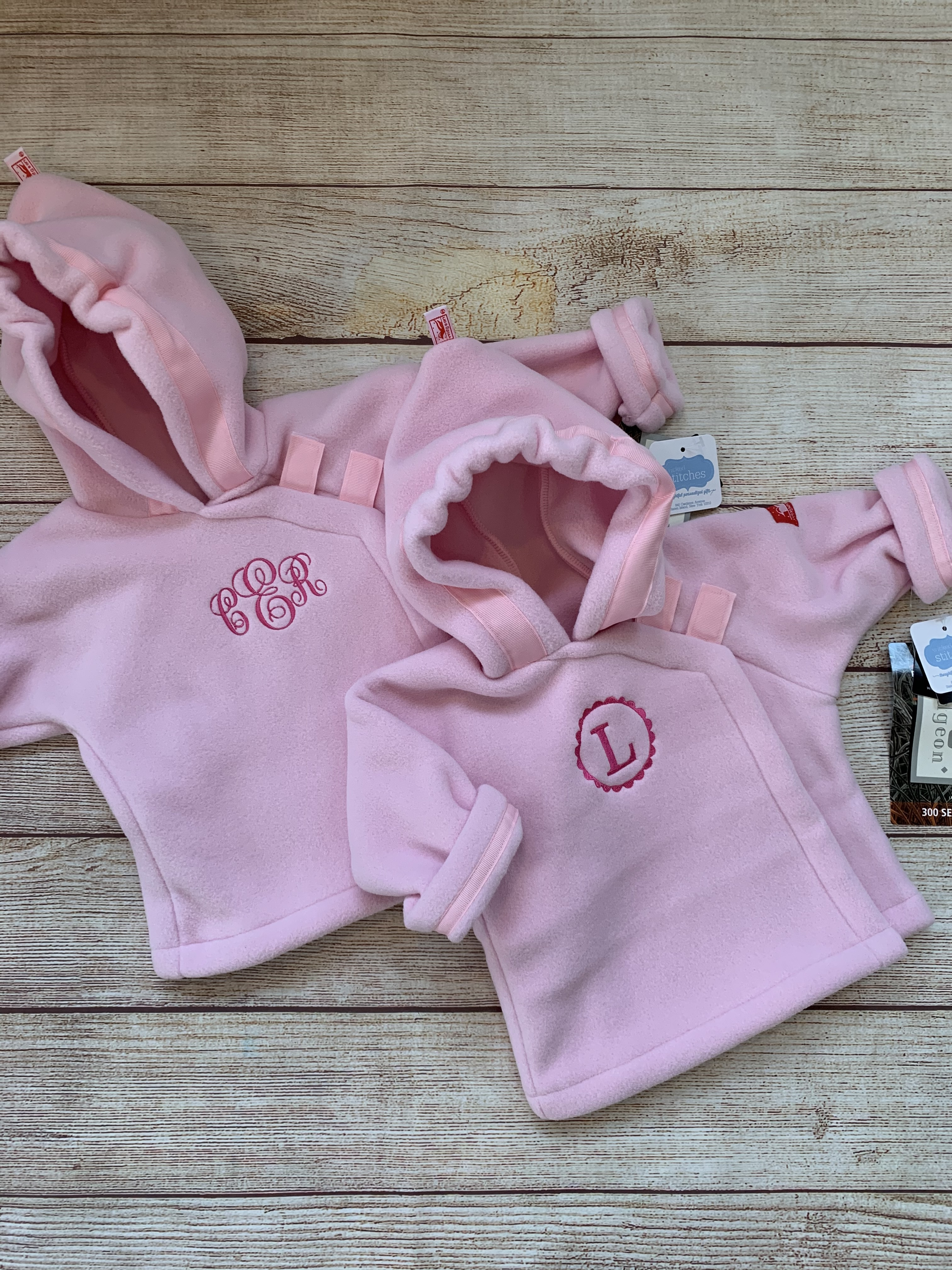 In the pink, warm and cozy. Expertly monogrammed by Wicked Stitches Gifts
