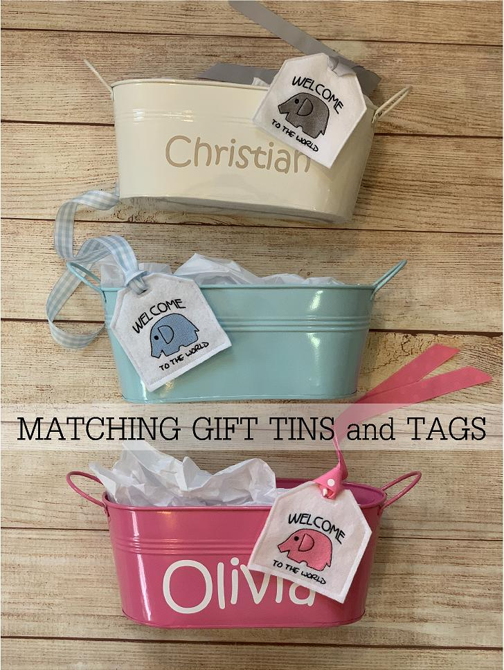 Wrap your gift in a personalized gift tin and exclusive embroidered gift tag.