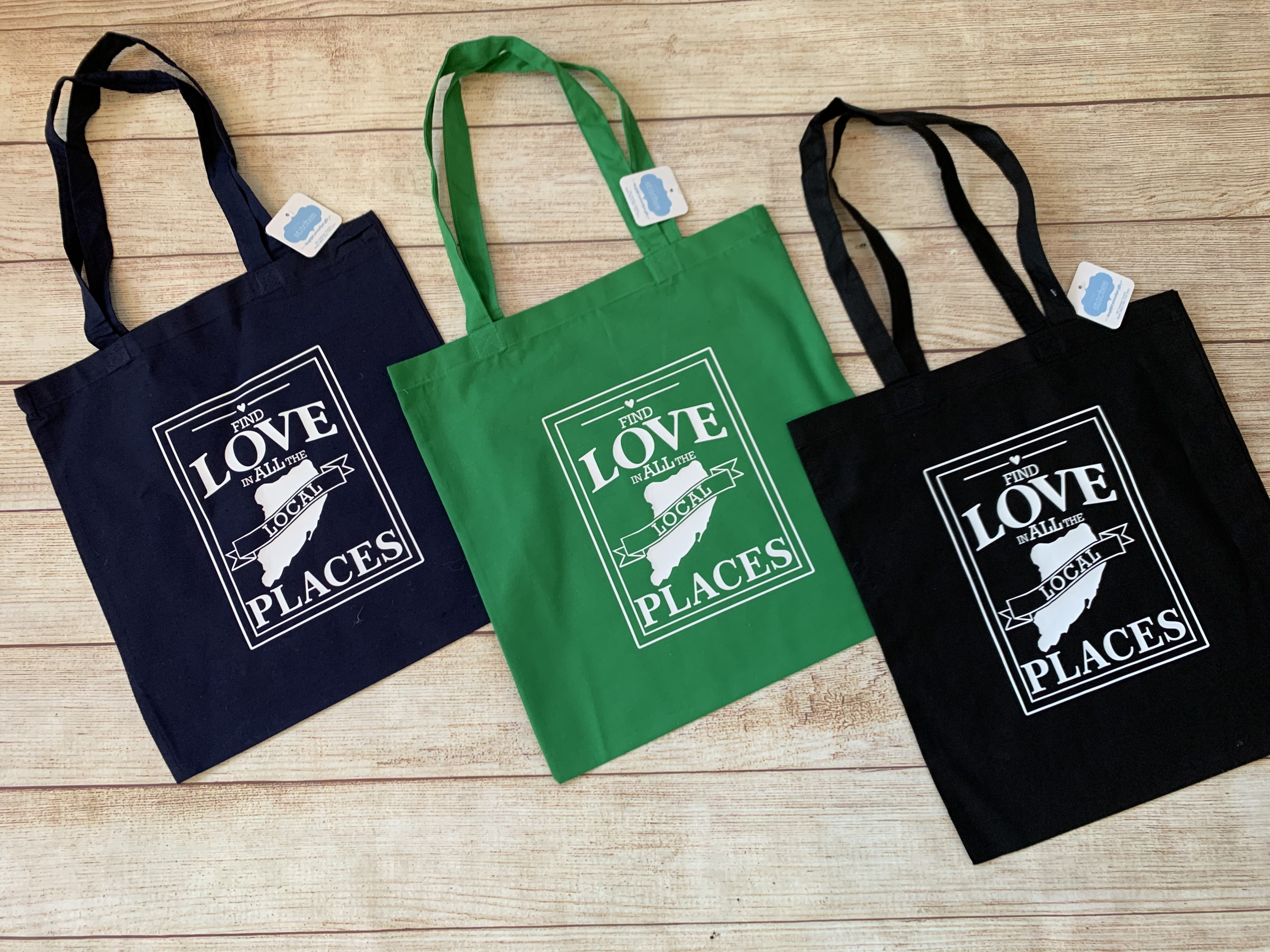 Love Local Shopping Tote by Wicked Stitches Gifts.  Reusable, grocery shopping bags.
