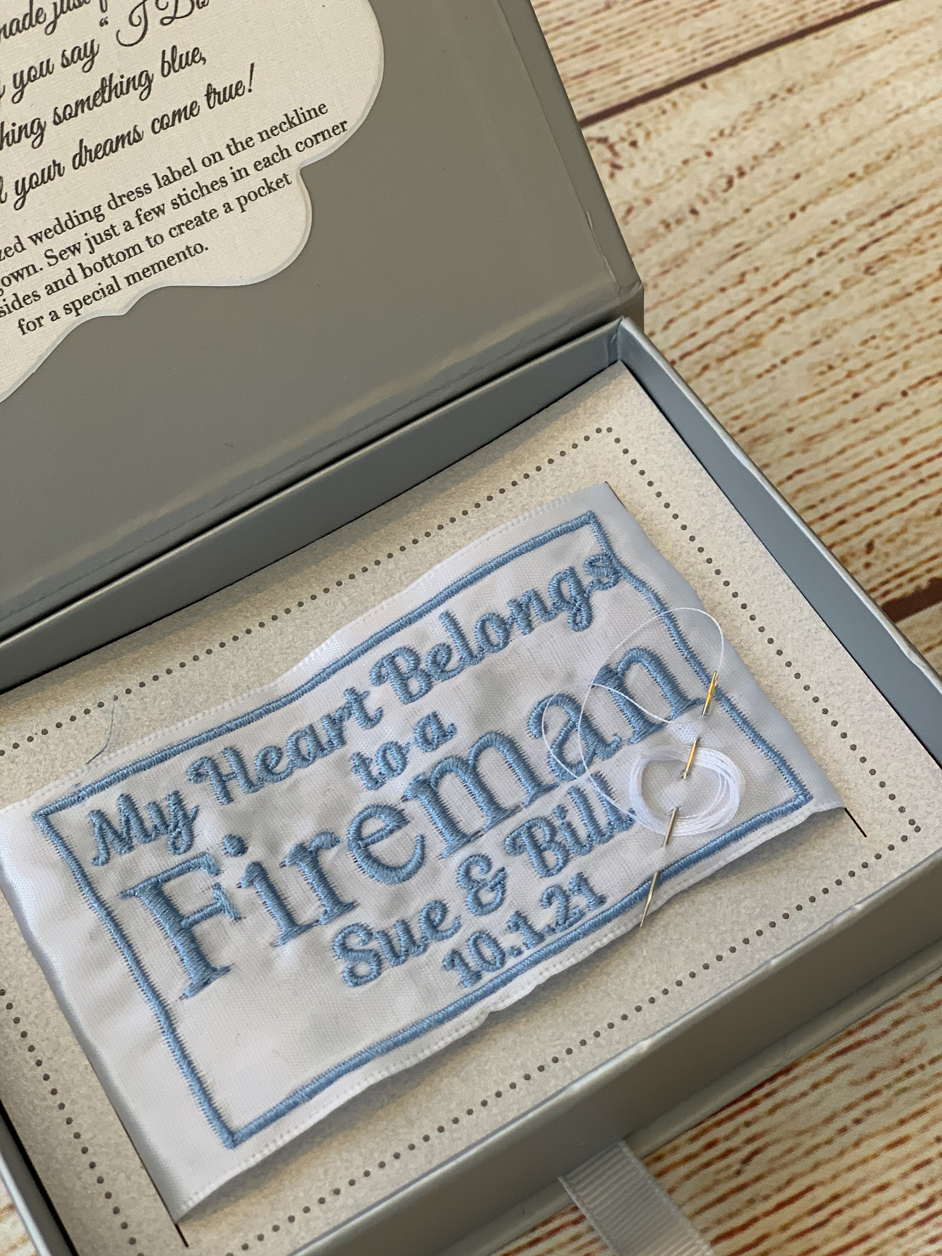 Close Up of our Something Blue Wedding Dress Label - My Heart Belongs to you!  By Wicked Stitches Gifts