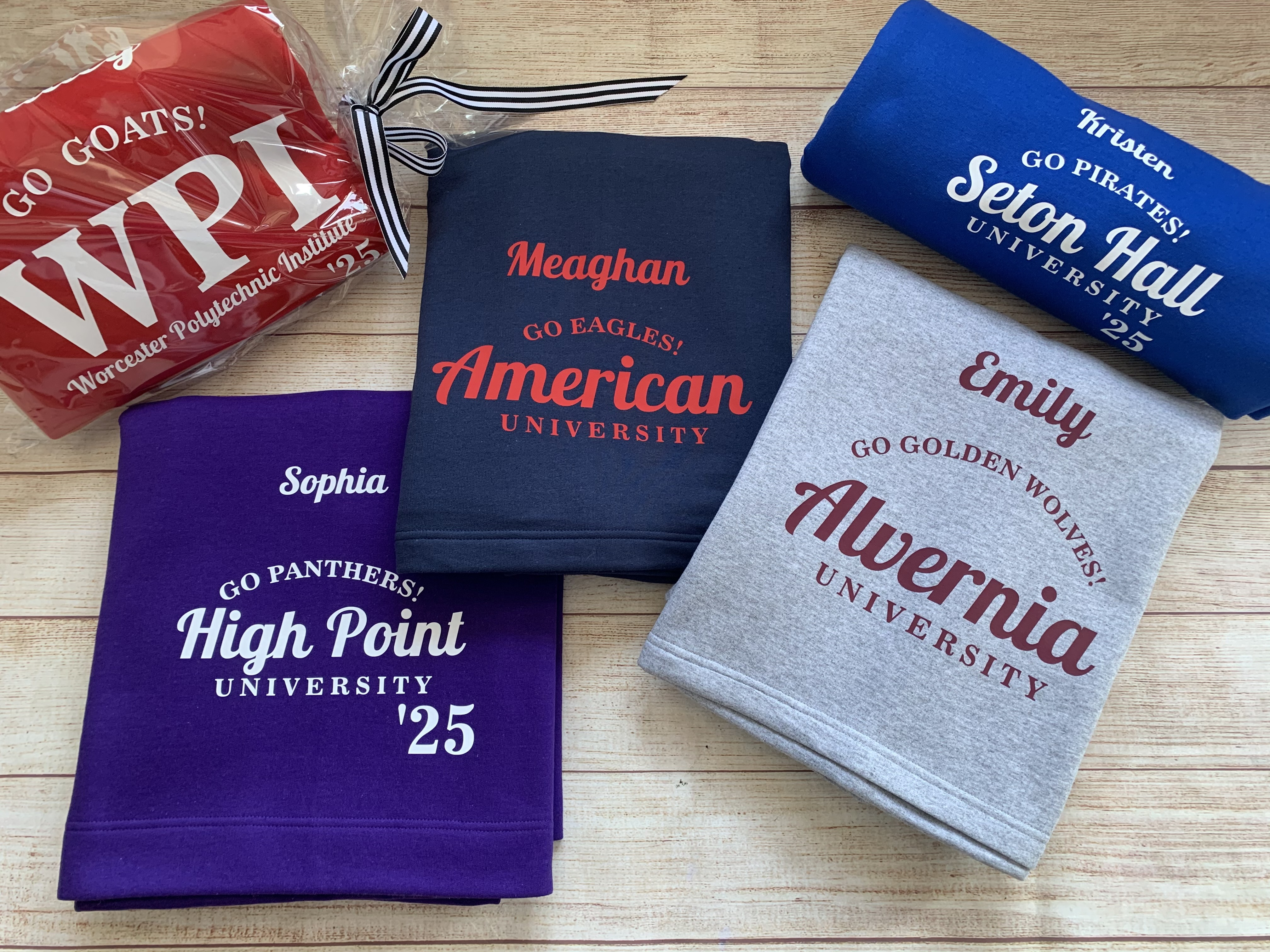 You tell us the college and we'll do the rest. We match the blanket to the school colors!