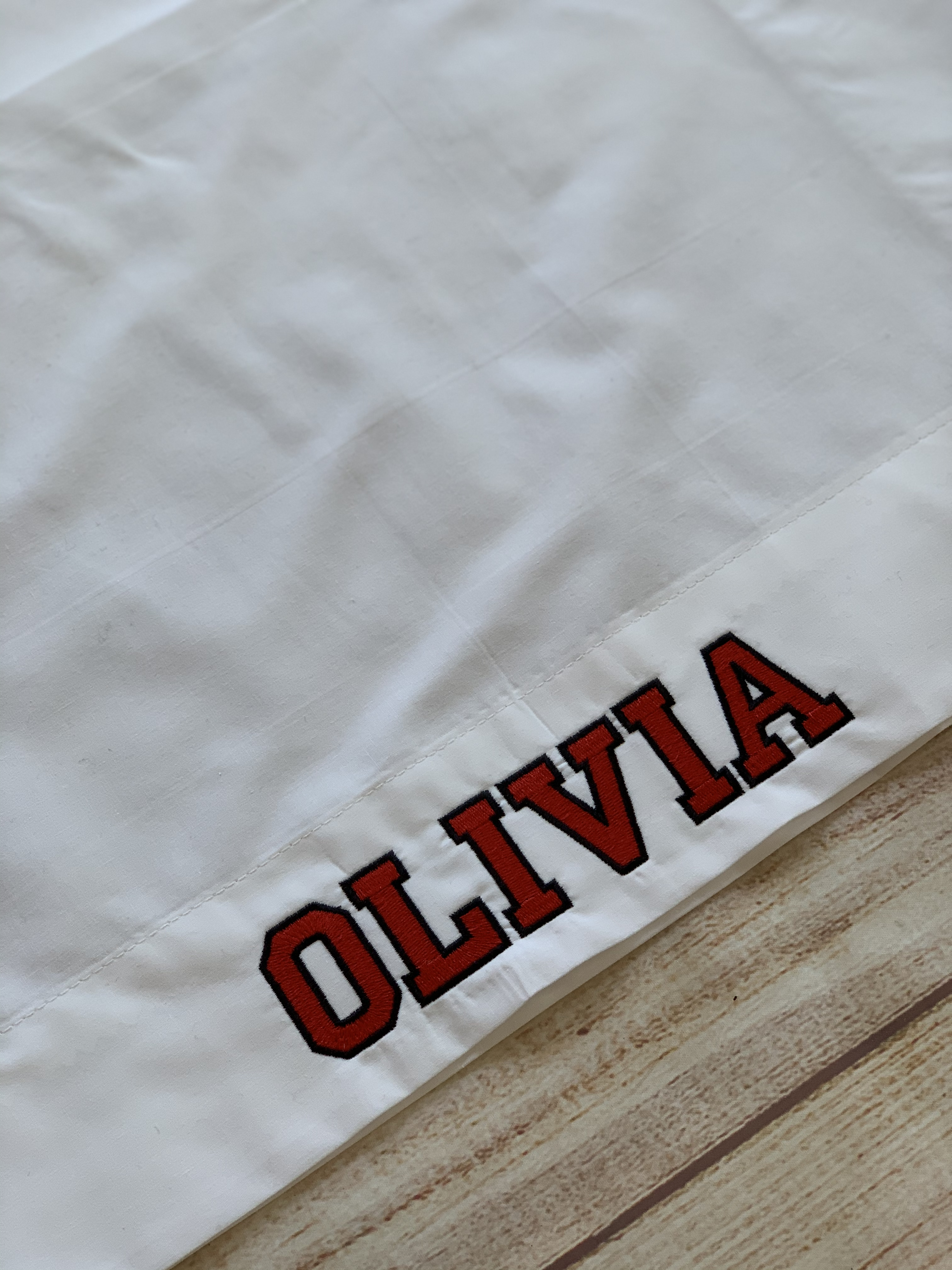 Grad name is embroidered onto the pillowcase opening.  Choose a two color collegiate font or a script font.
