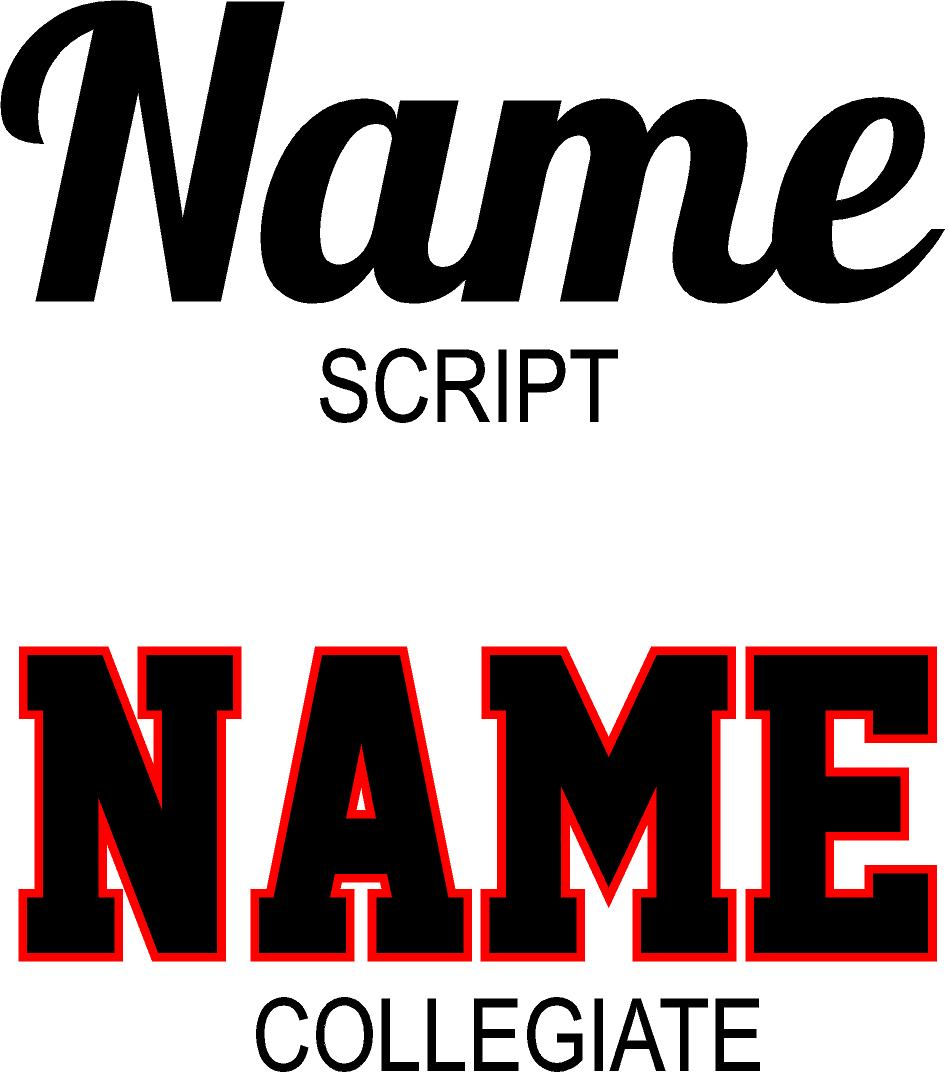 Choose your font for the College Pillowcase.  Script or Collegiate fonts by Wicked Stitches Gifts.