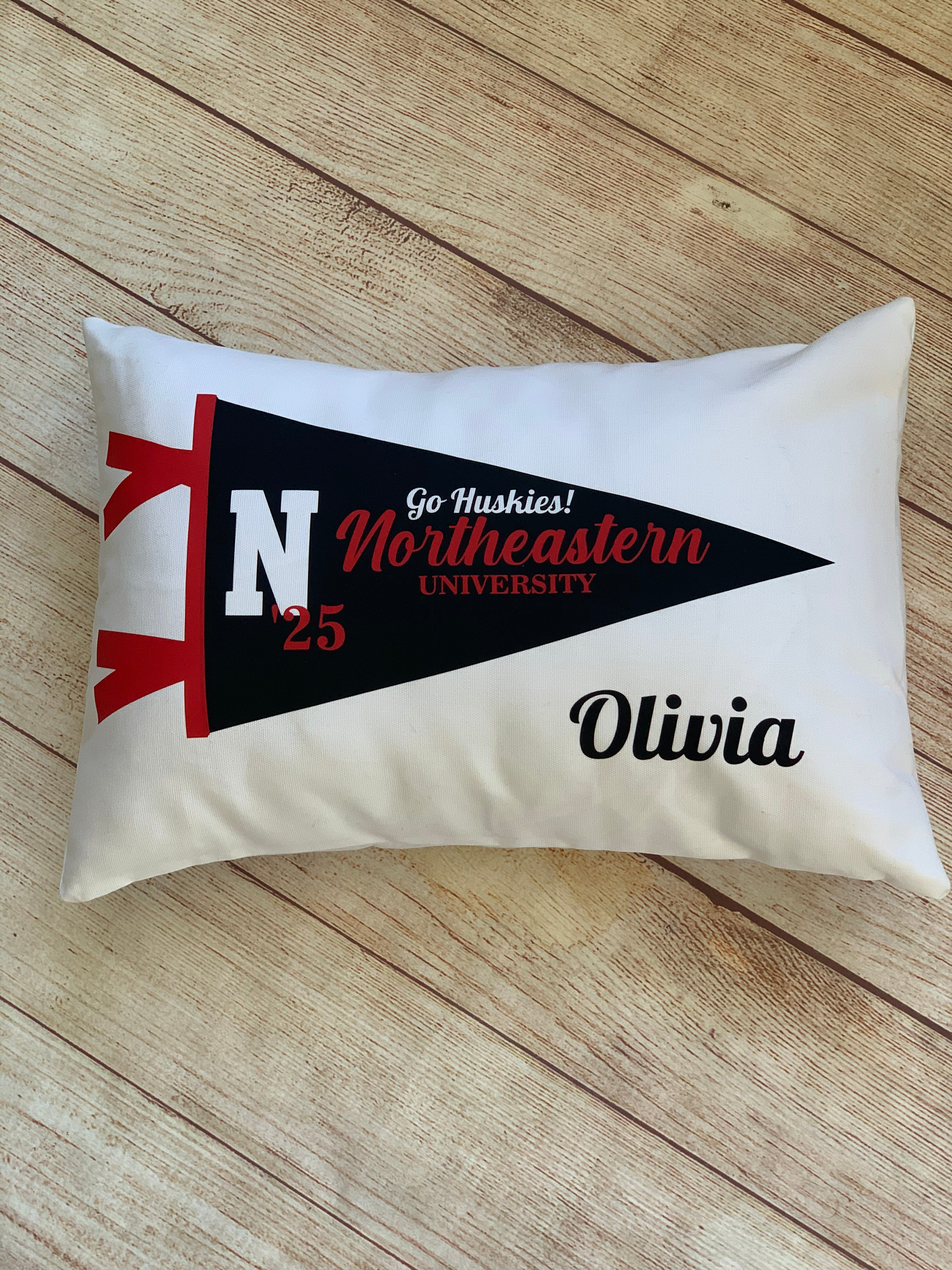 College Pennant Pillow  is imprinted on a crisp white rectangle shape pillow - by Wicked Stitches Gifts