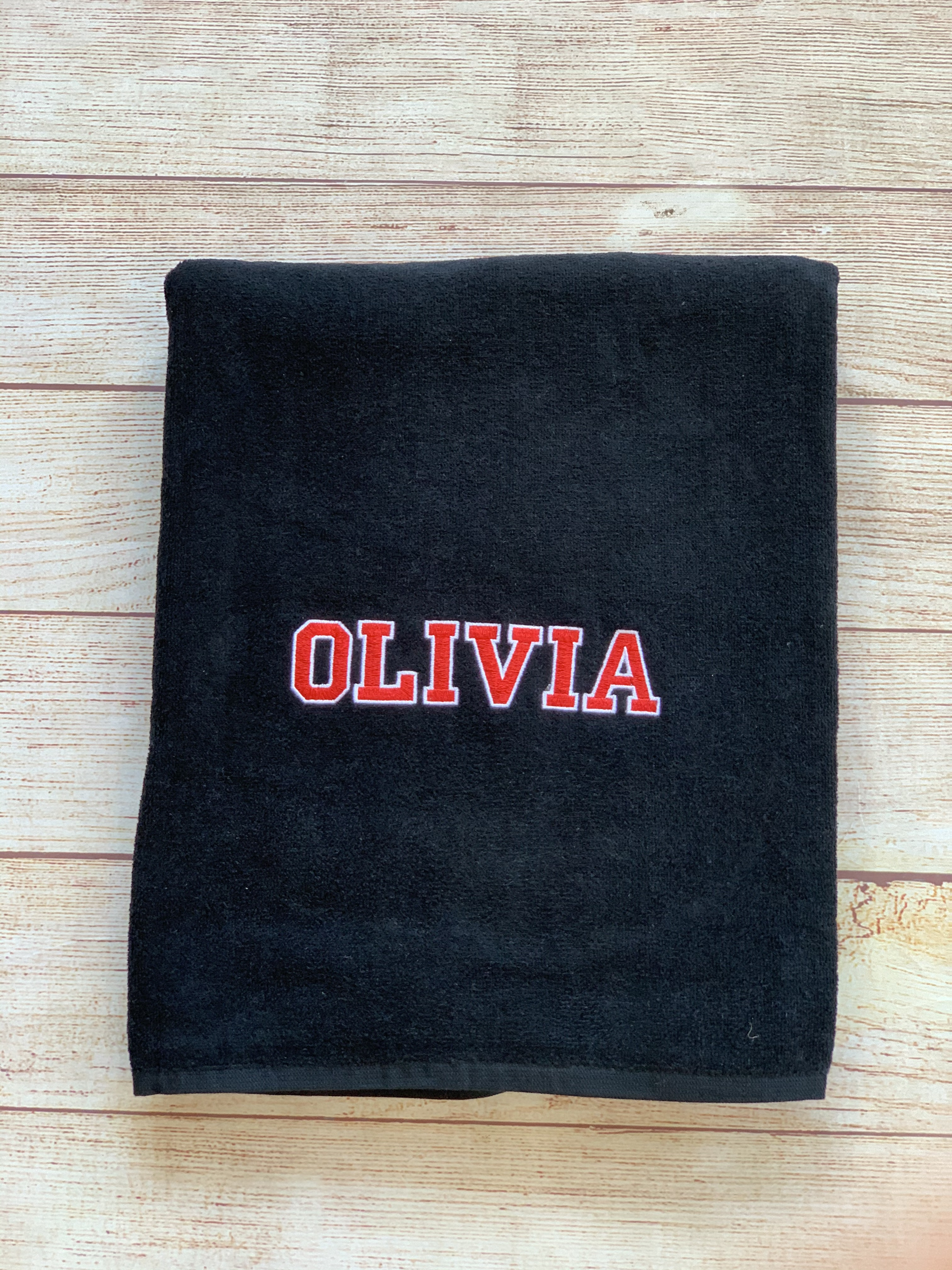 College Beach Towel with collegiate lettering by Wicked Stitches Gifts