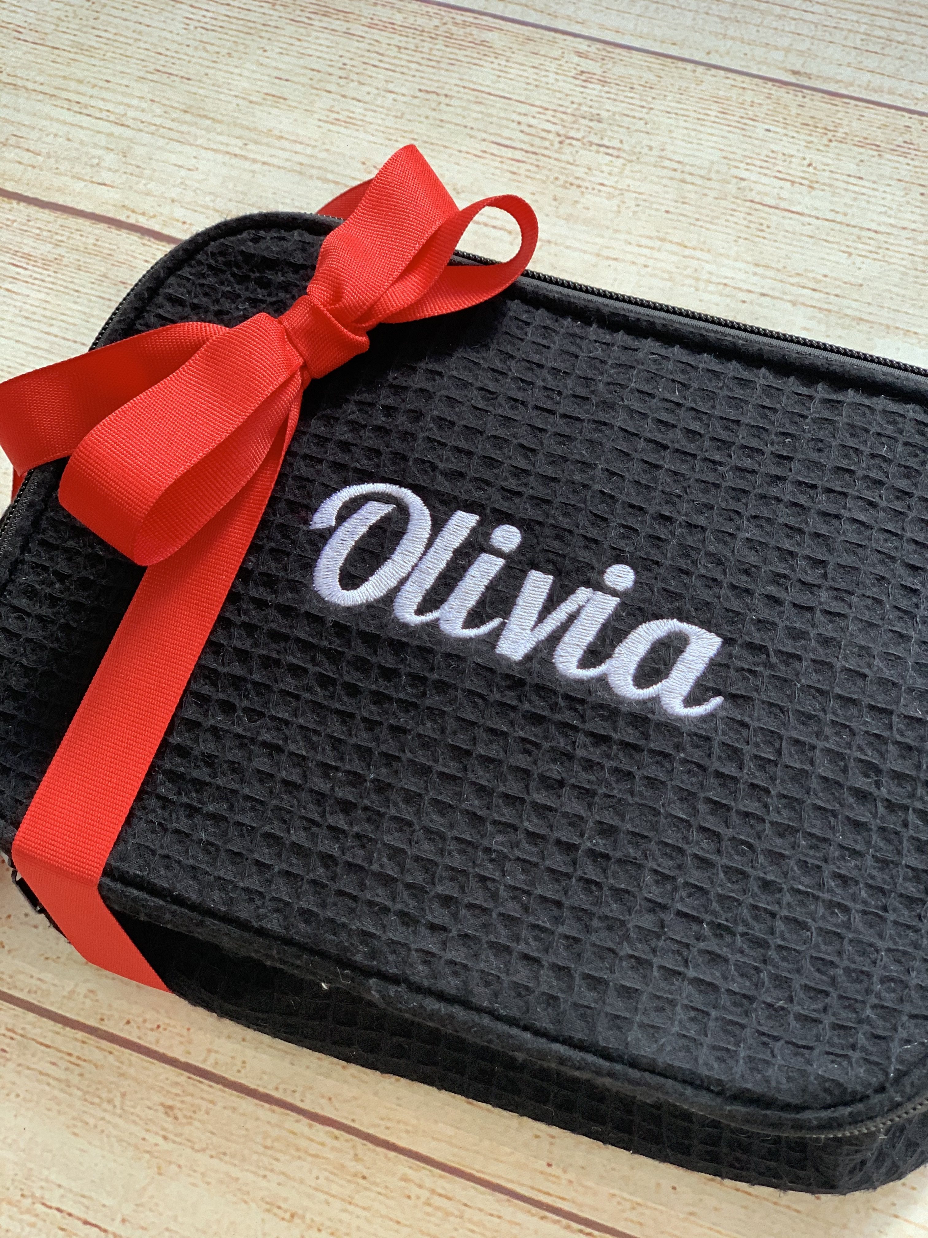 College Cosmetic Case expertly embroidered by Wicked Stitches Gifts