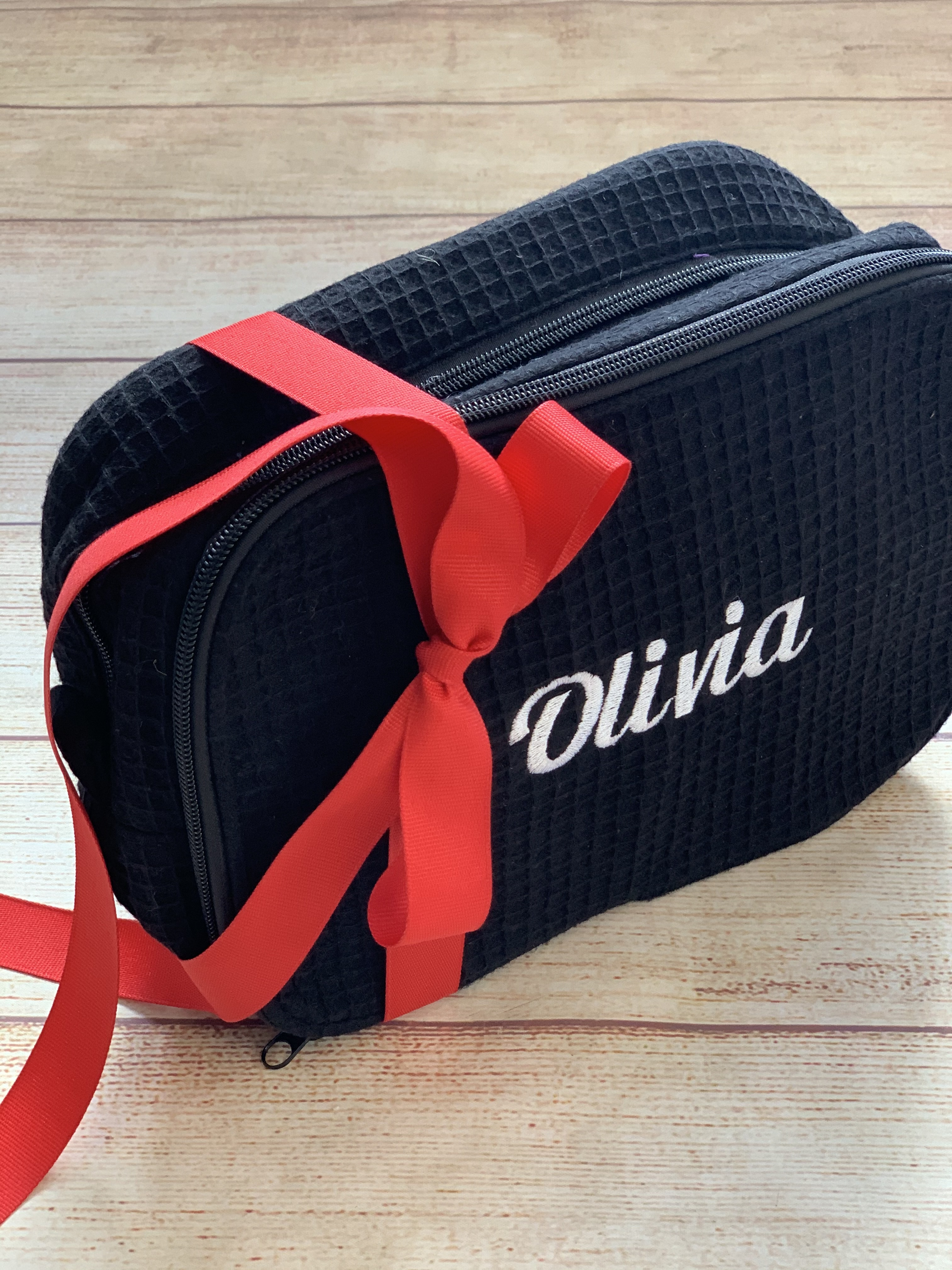College Cosmetic Case seen from the top embroidered by Wicked Stitches Gifts