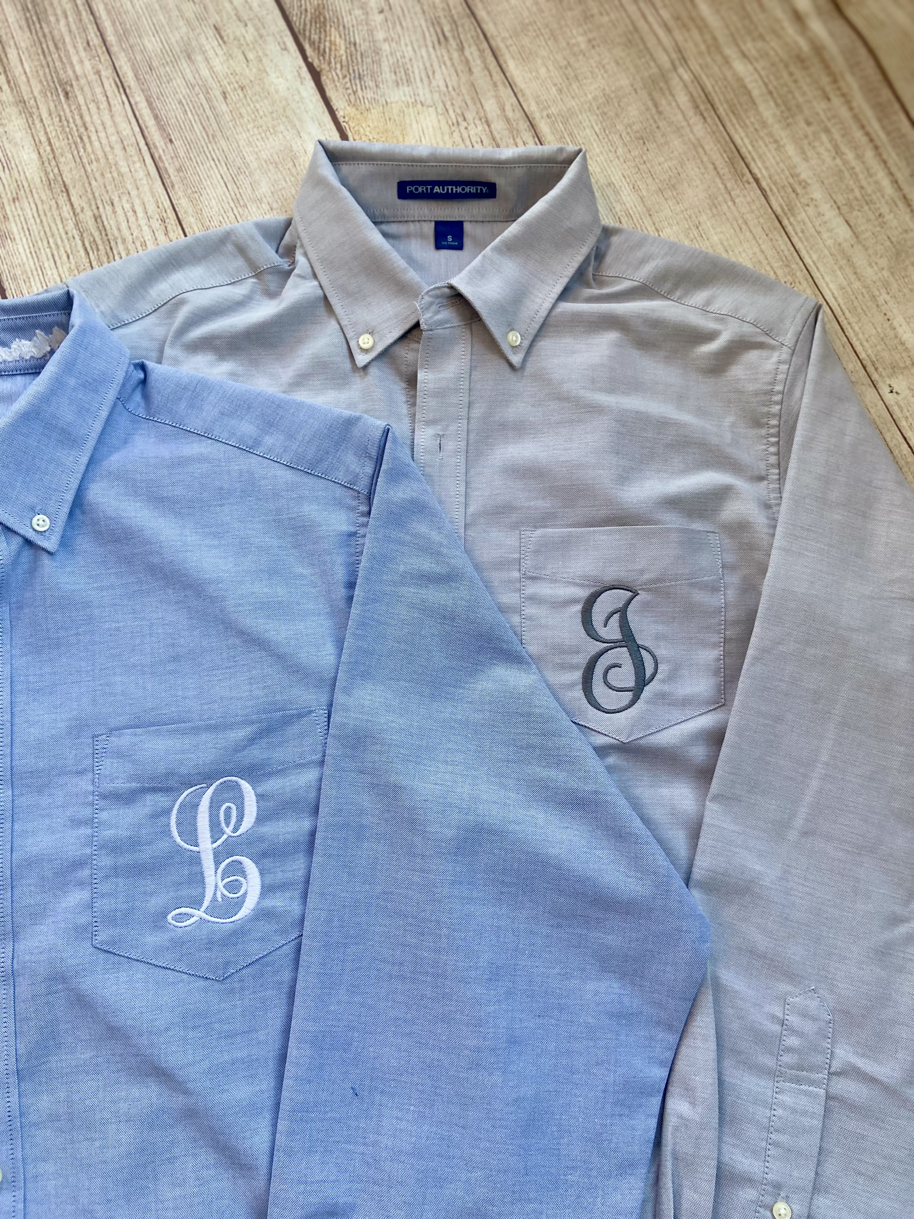 Light blue and gray Monogram Oxford by Wicked Stitches