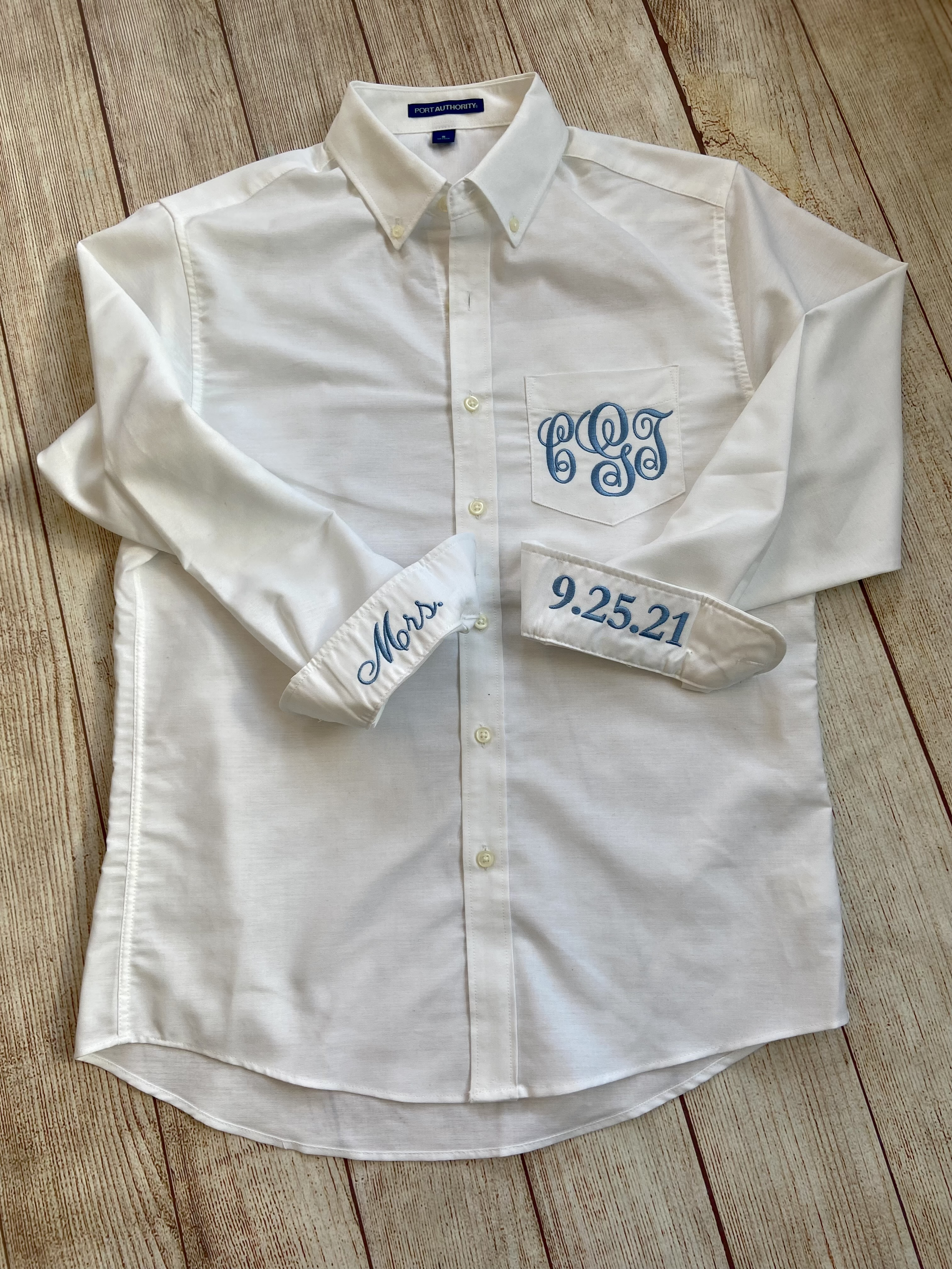 Monogram Oxford -white with light blue stitching by Wicked Stitches