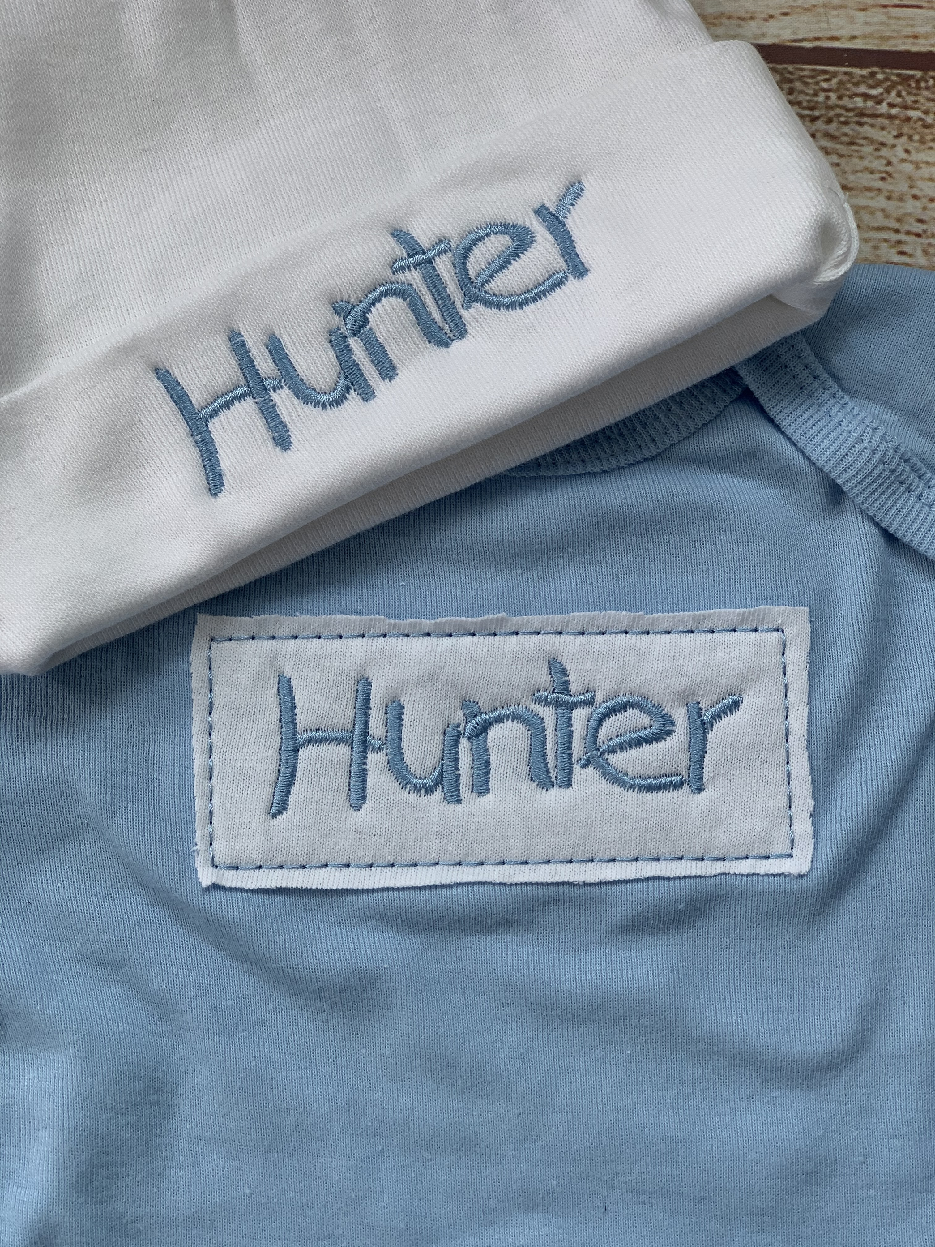 Look at that gorgeous embroidery!  Personalization is so fun for the new baby.