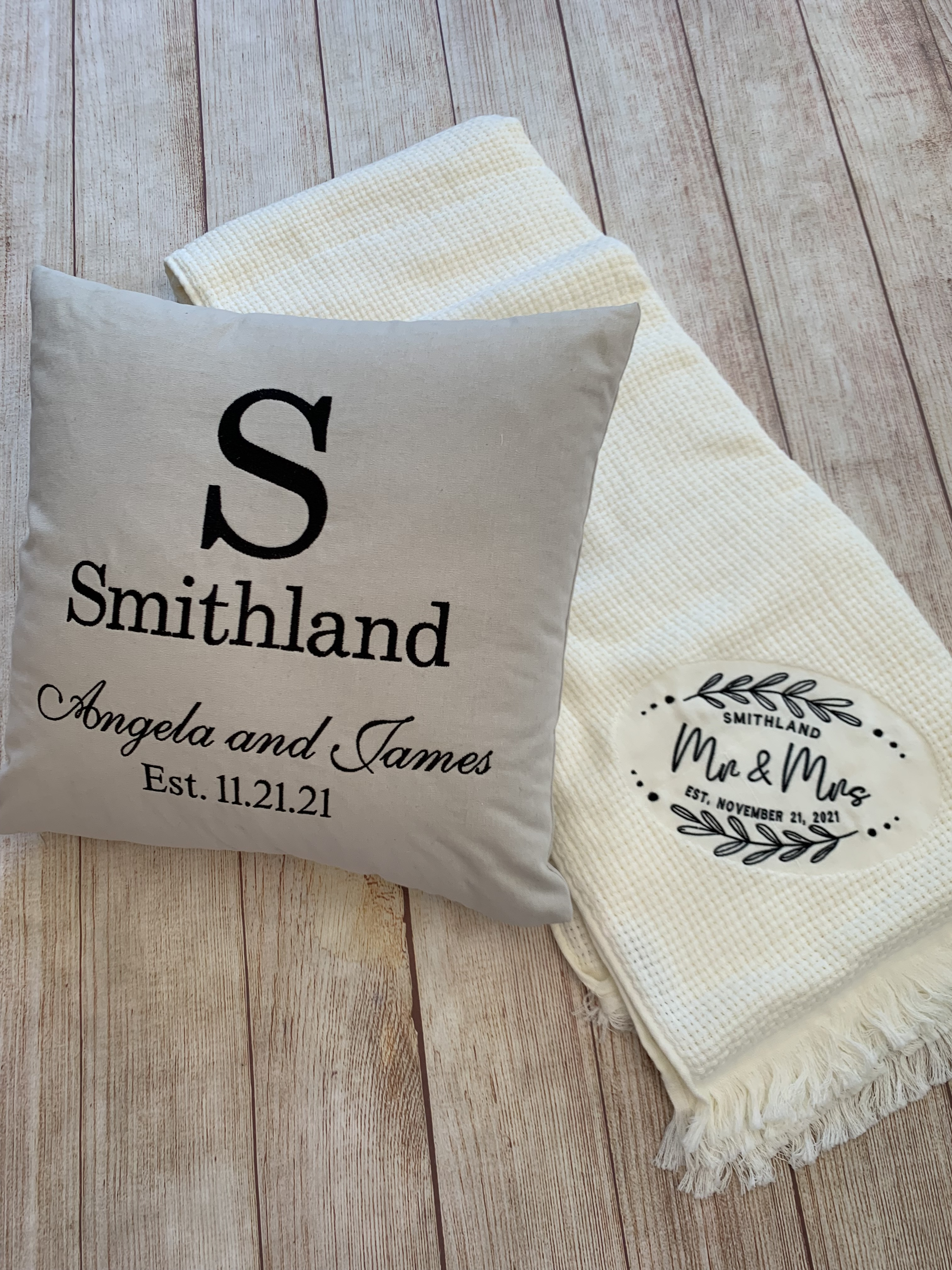 Cream pillow shown with our Mr. & Mrs. Basketweave blanket.  Great gift combination!  Wicked Stitches Inc.