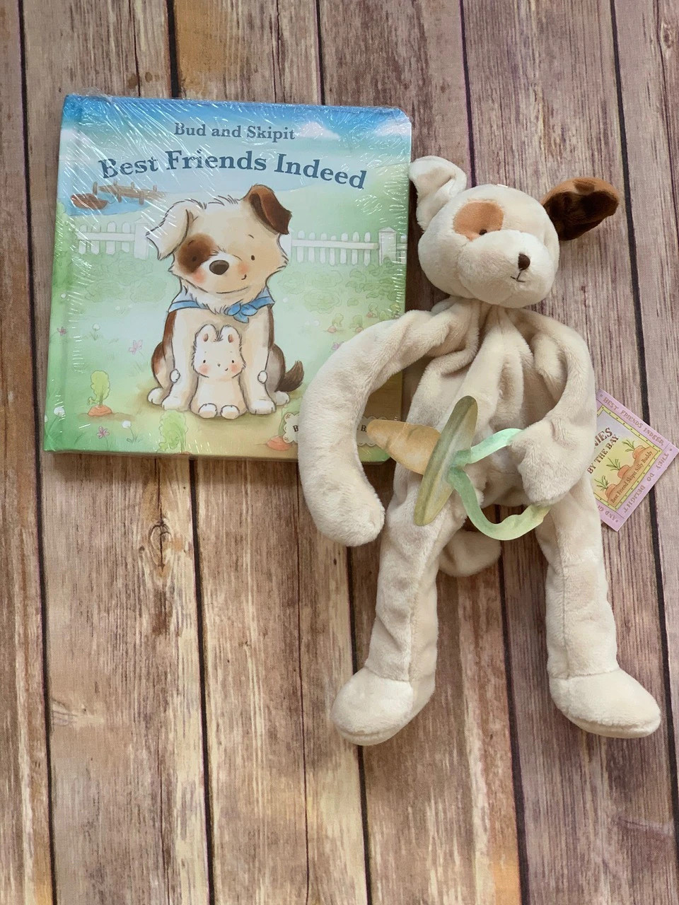 Add a book and a binkie buddy pacifier holder!  Great items by Bunnies by the Bay.  Wicked Stitches Gifts.