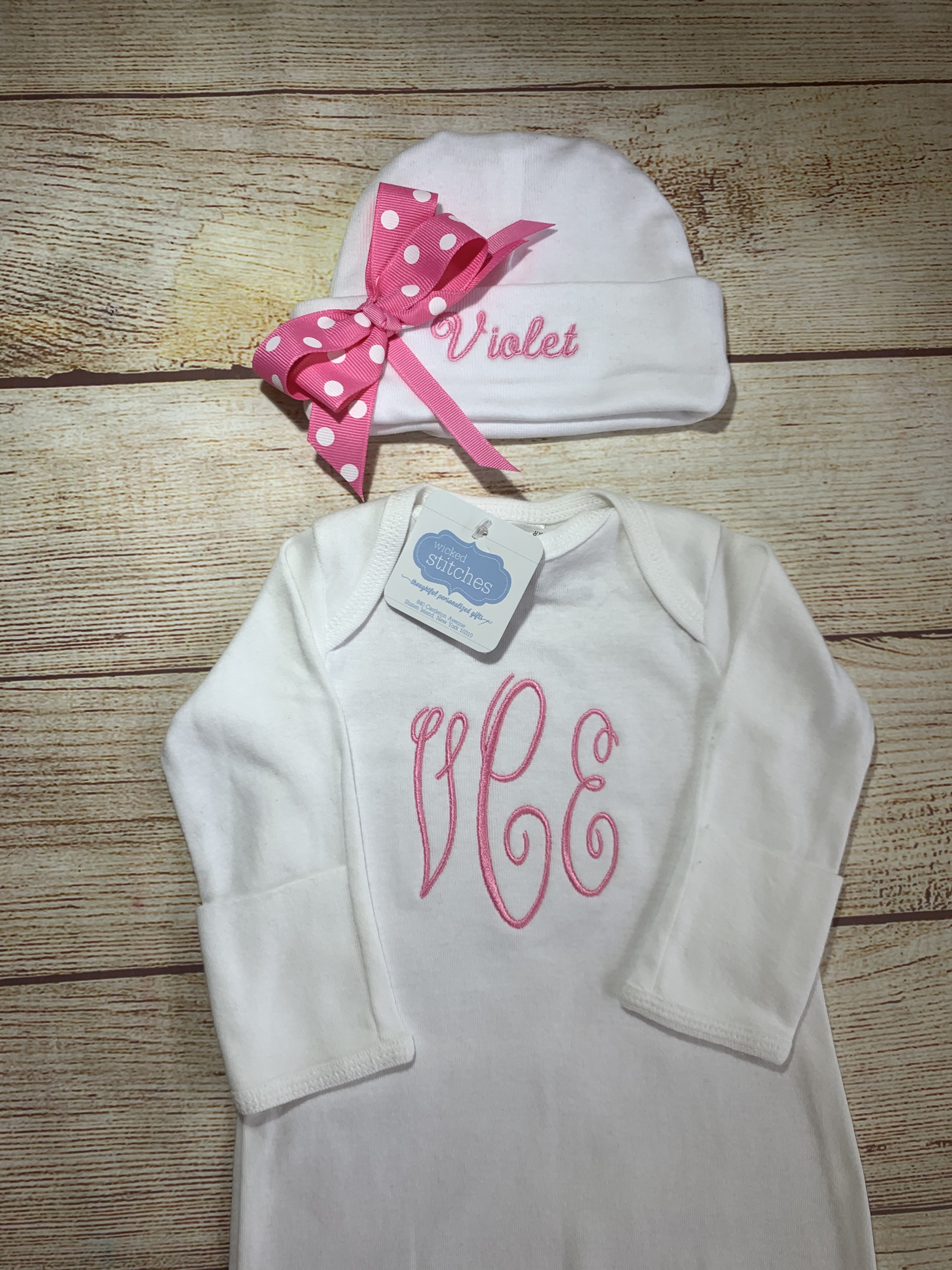Baby's First Monogrammed Newborn Gown by Wicked Stitches Gifts Great take home outfit!