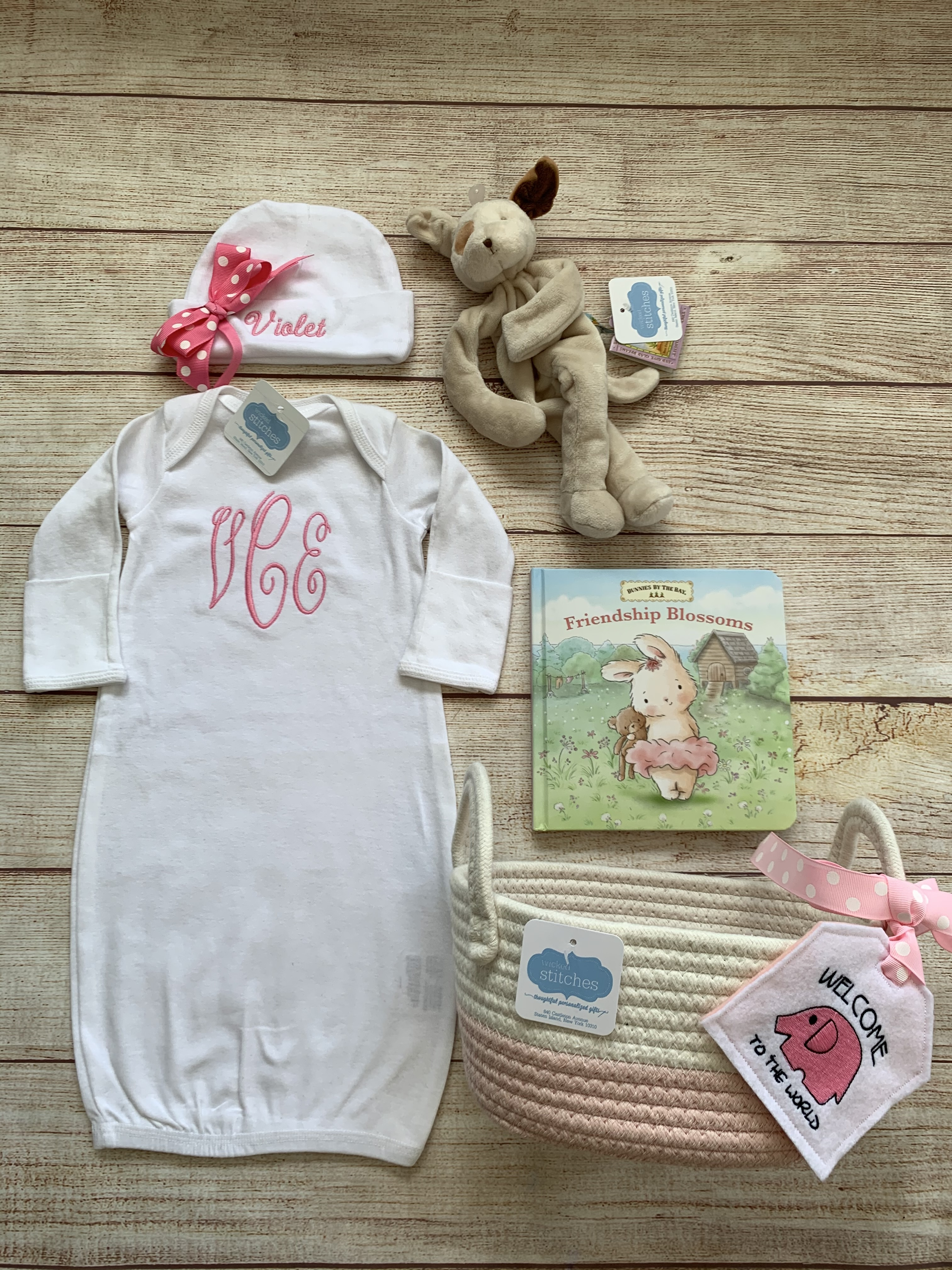 Add some items to the Monogram  Newborn Gown to make a cute gift set. Great items and a wonderful gift for new baby.  Wicked Stitches Gifts.