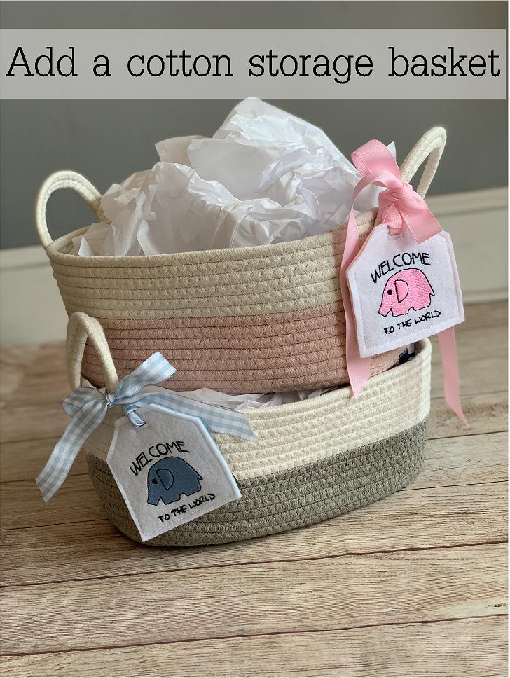 Upgrade your gift wrap! Add a large cotton storage basket.  Besides the wonderful presentation, this cotton storage basket is great to organize the nursery.