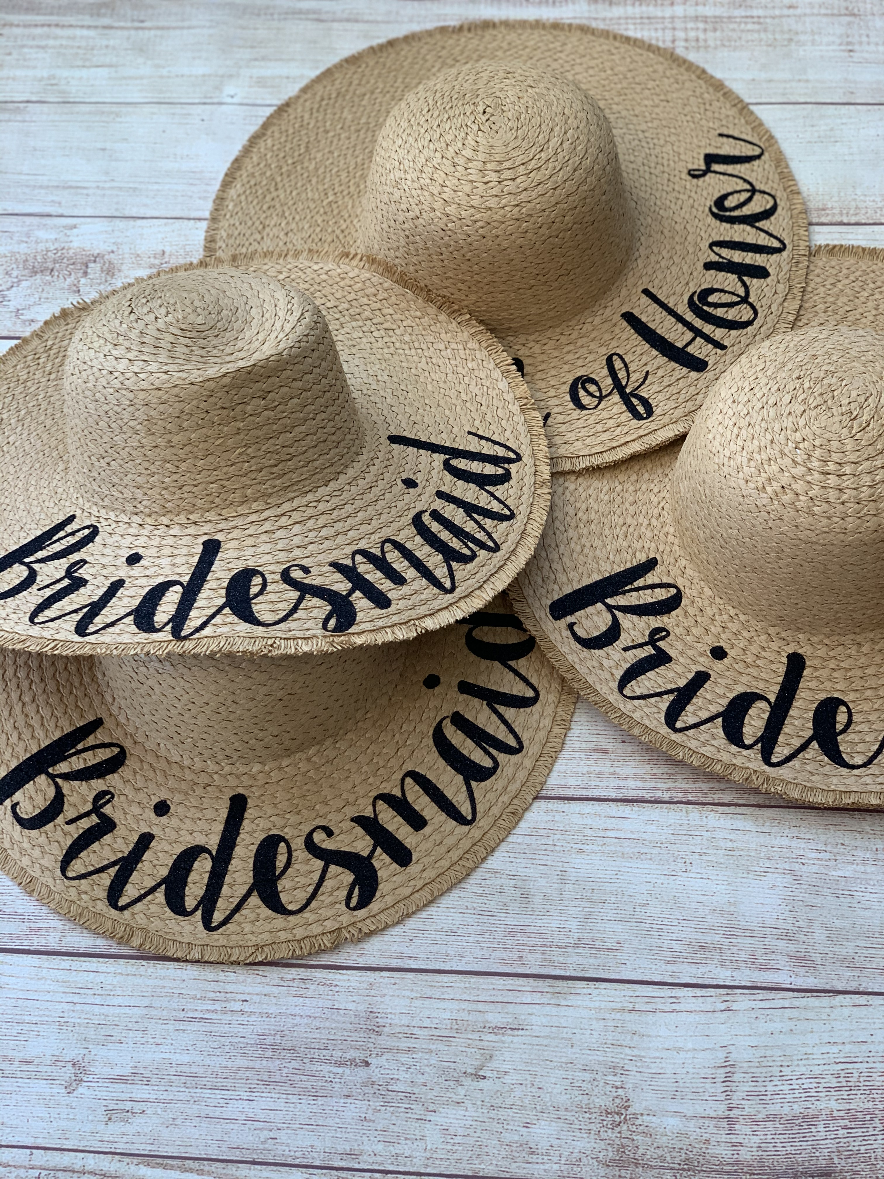 Destination wedding? Treat the team to hats for the occasion. Tan with black glitter. by Wicked Stitches Gifts
