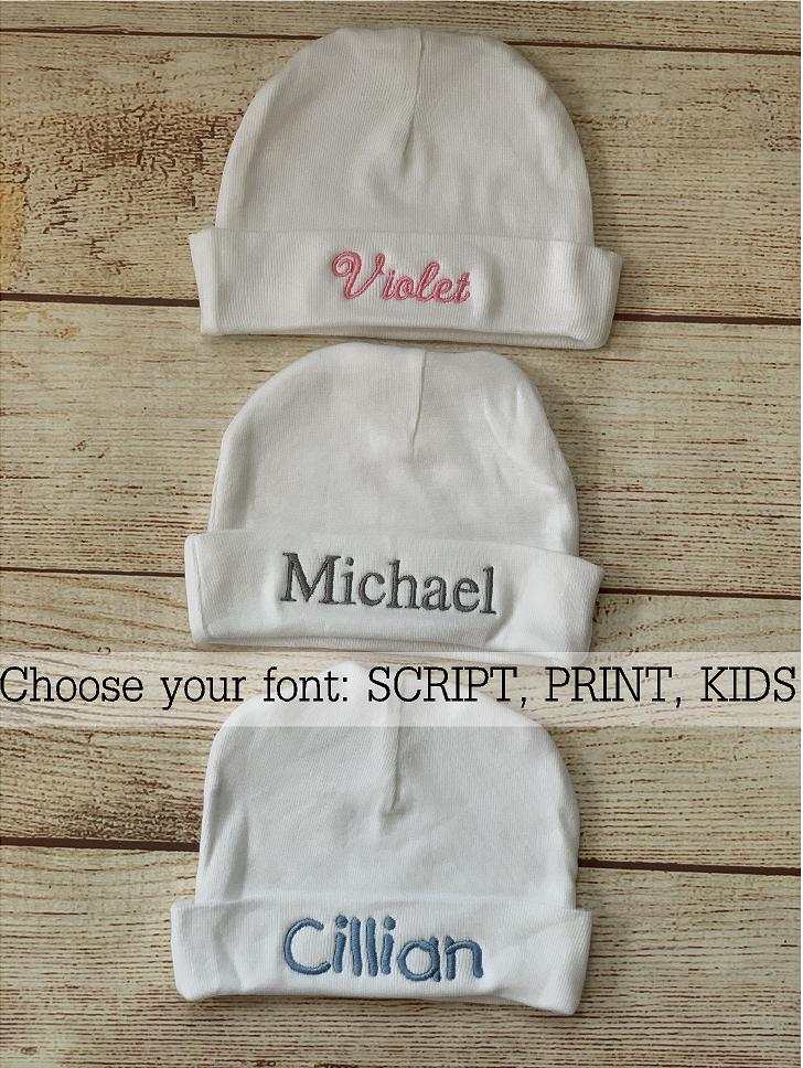 Choose your font and thread color, great fonts in a variety of colors.  Wicked Stitches Gifts.