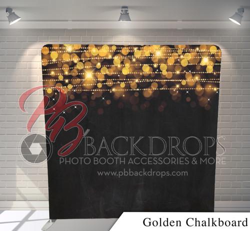 Single-sided Pillow Cover Backdrop  (Golden Chalkboard)