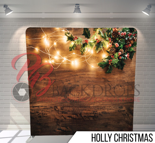 Single-sided Pillow Cover Backdrop  (Holly Christmas)