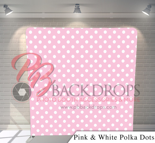 Single-sided Pillow Cover Backdrop  (Pink White Polka Dots)