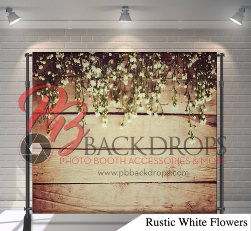 8x8 Printed Tension fabric backdrop (Rustic White Flowers)