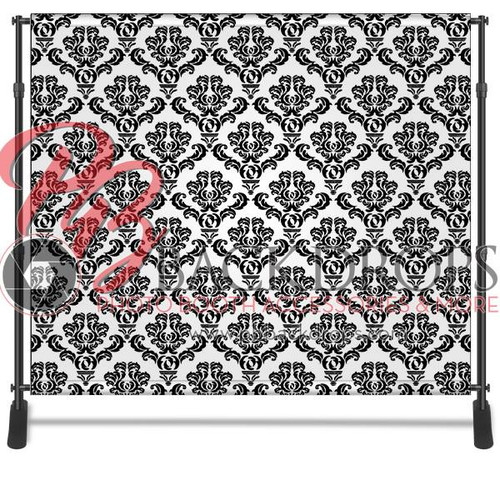 8x8 Printed Tension single-sided fabric backdrop - Black/white Damask | PB Backdrops