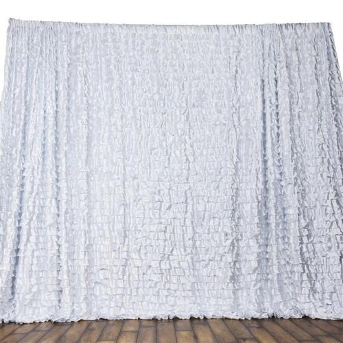 20 ft x 10 ft Satin Ruffles Wedding Backdrop - White