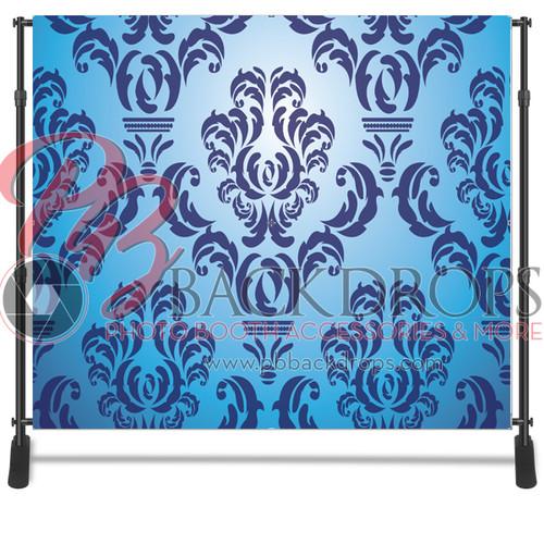 8x8 Printed Tension single-sided fabric backdrop - Blue Damask | PB Backdrops