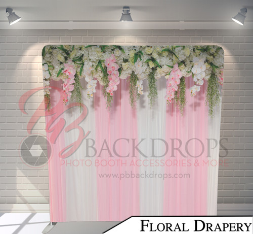 Single-sided Pillow Cover Backdrop  (Floral Drapery)