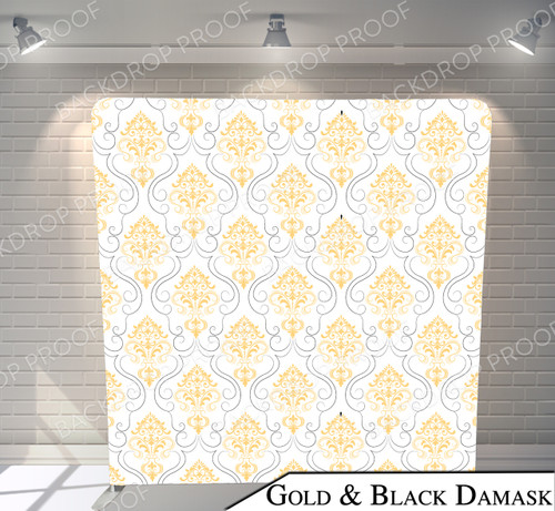 Single-sided Pillow Cover Backdrop  (Gold and Black Damask)
