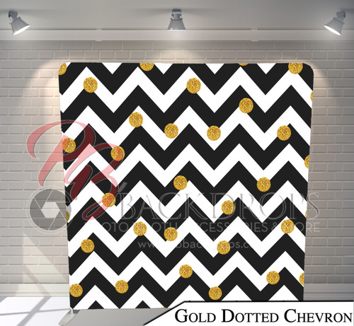 Single-sided Pillow Cover Backdrop  (Gold Dotted Chevron)