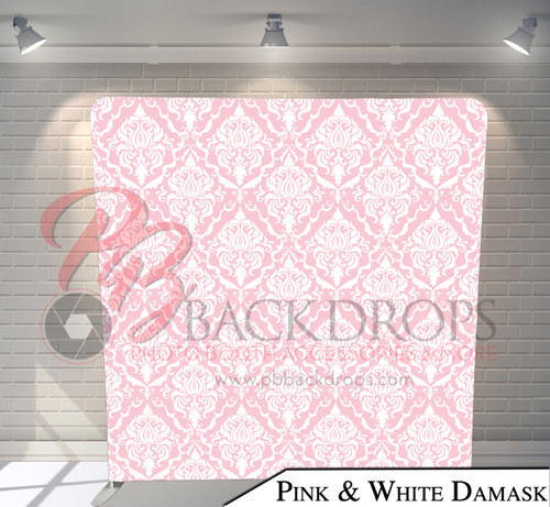 Single-sided Pillow Cover Backdrop  (Pink and White Damask)